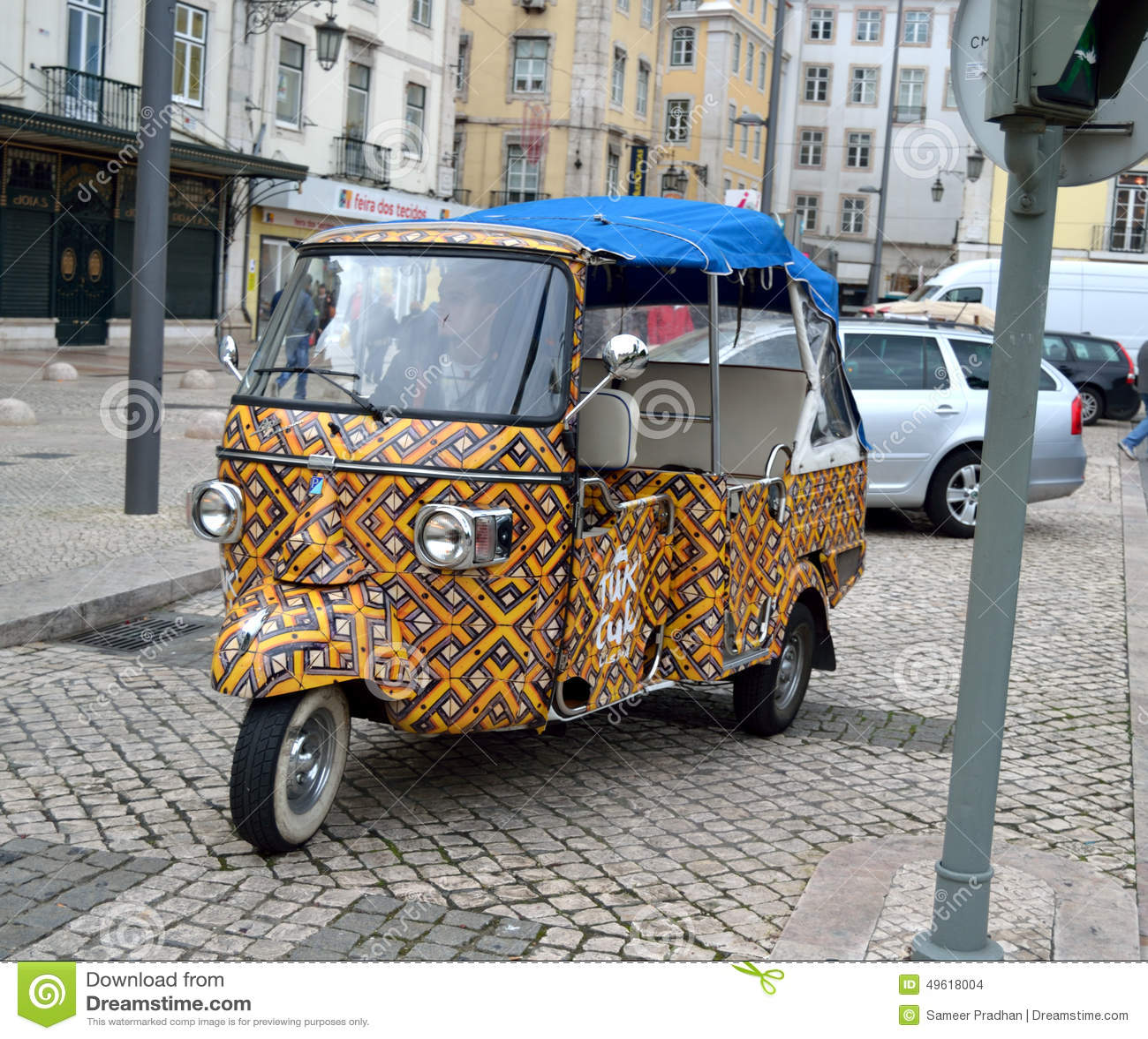 colourful tuk tuk auto in lisbon editorial stock image image 49618004. Black Bedroom Furniture Sets. Home Design Ideas