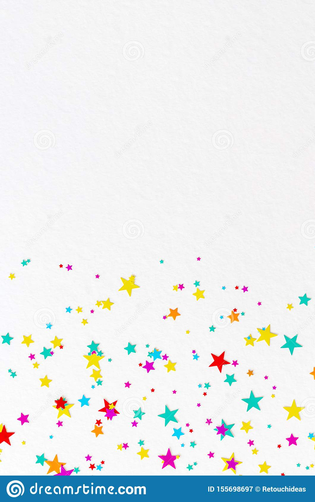 Colourful vibrant star background on white paper.