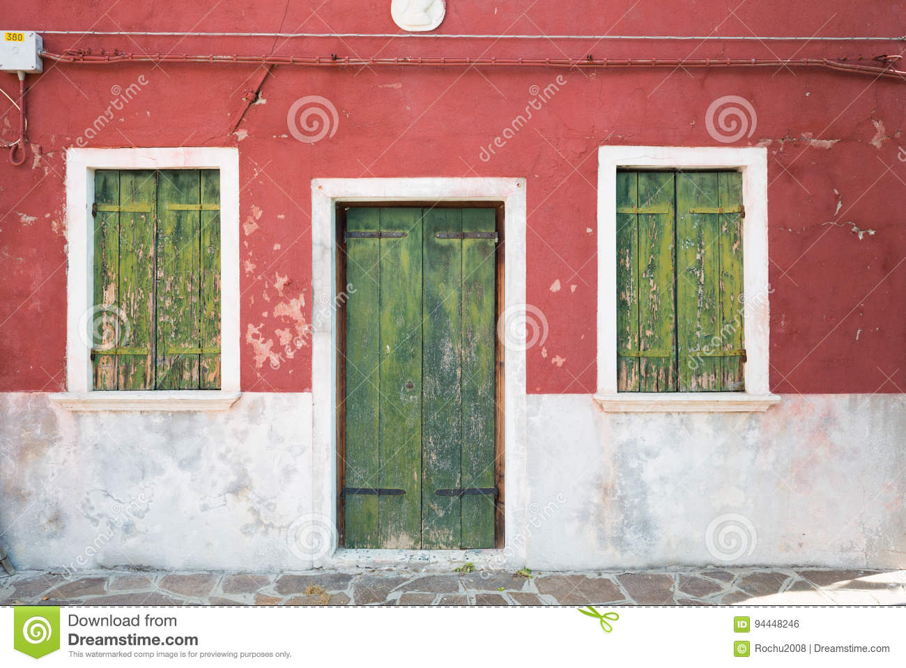 Colourful Wall Of Picturesque House Stock Photo - Image of shutters ...