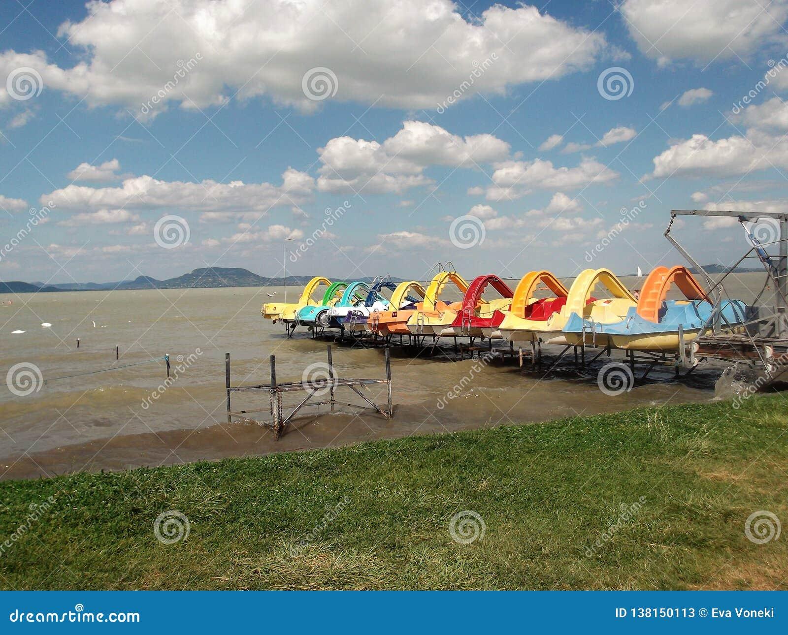 Colourful water bikes on the lake Balaton
