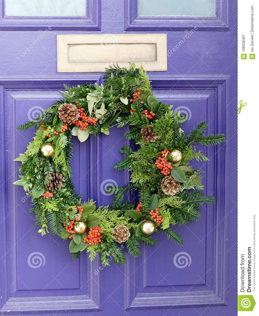 Colourful Wreath On A Purple Door Stock Image Image Of Colorful
