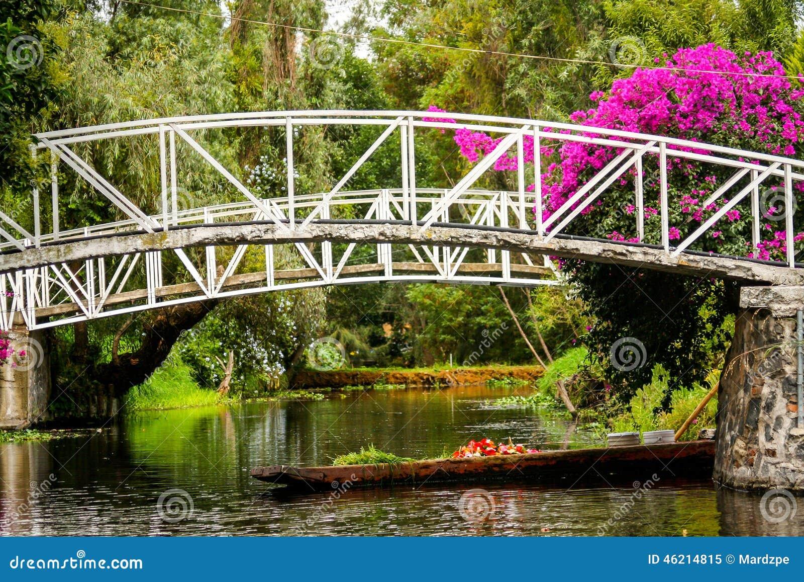 Colourful Xochimilco Meksyk Spławowi ogródy w Meksyk