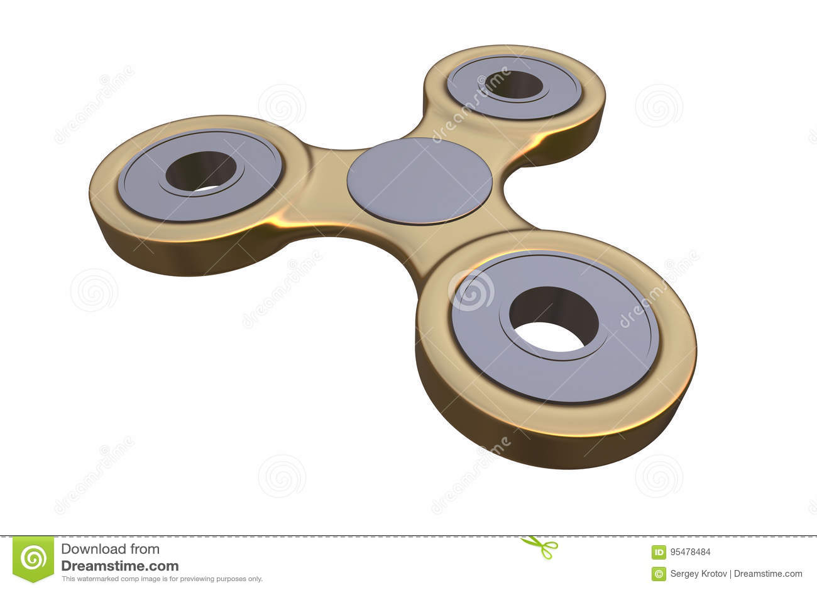Colourful złoty stalowy metalu wiercipięta palca kądziołka stres, niepokój ulgi zabawki 3d ilustracja