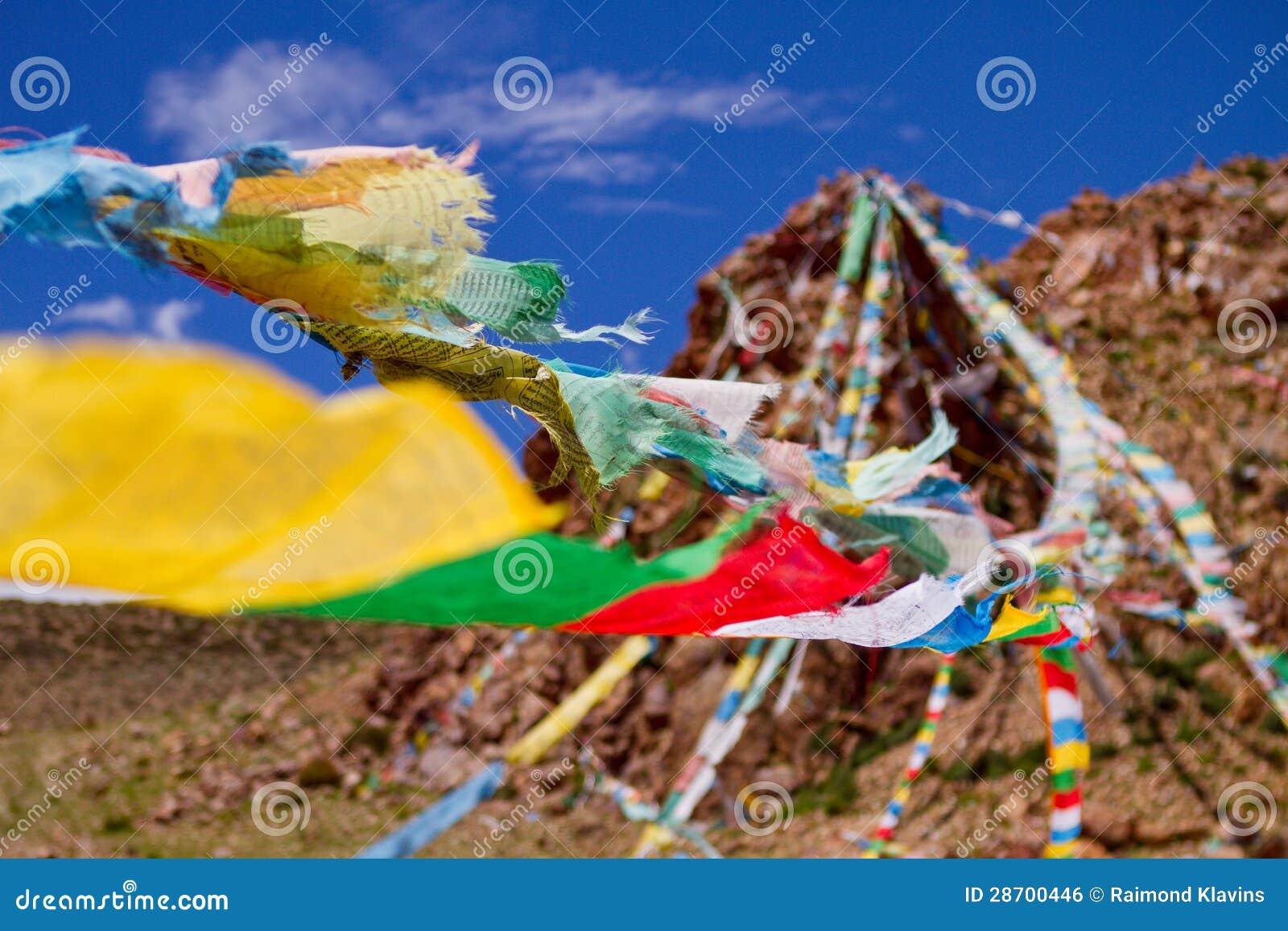 Colourfull praying buddhist flags