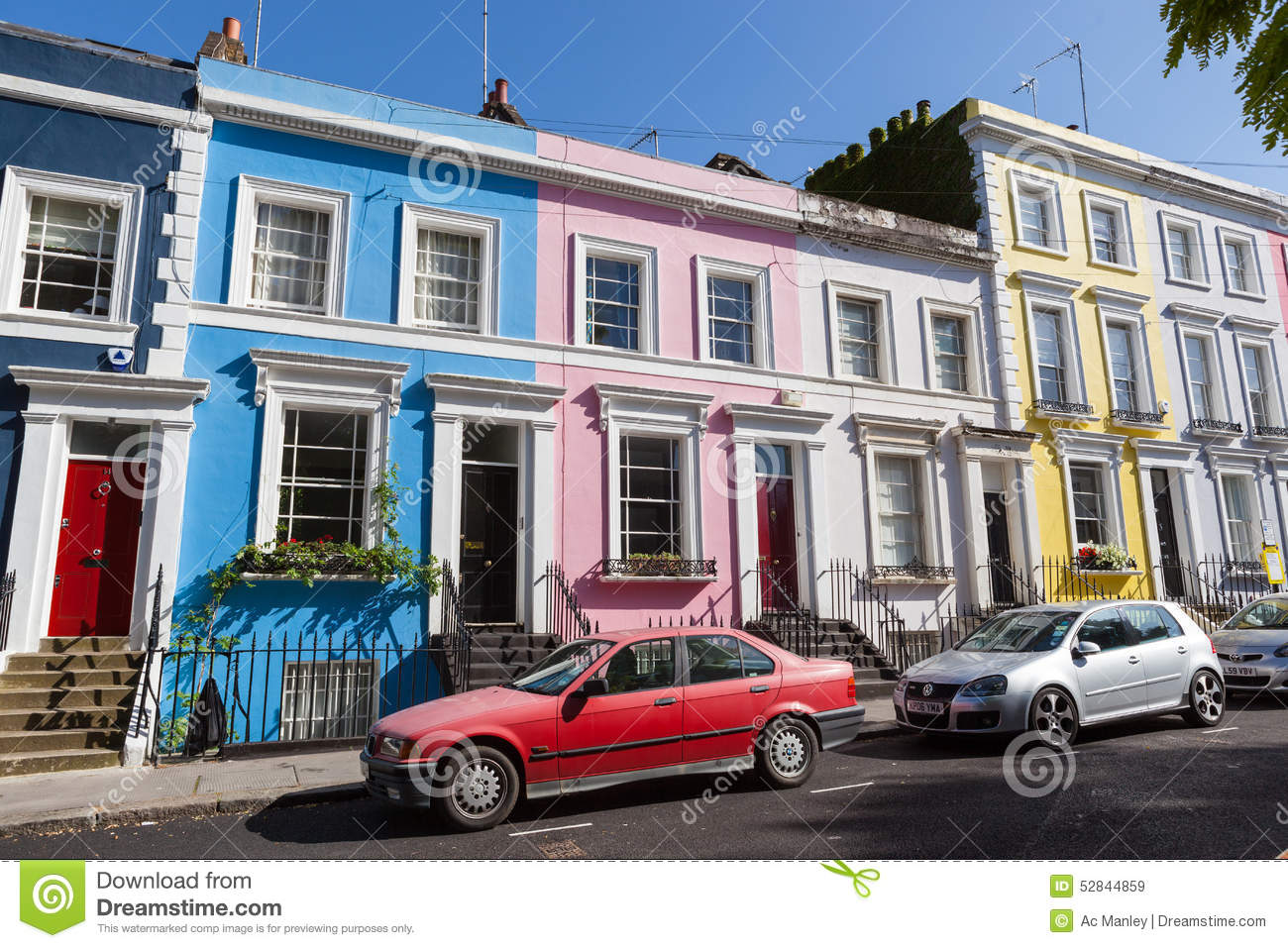 Colourfully painted victorian terrace houses editorial for The terrace land and house