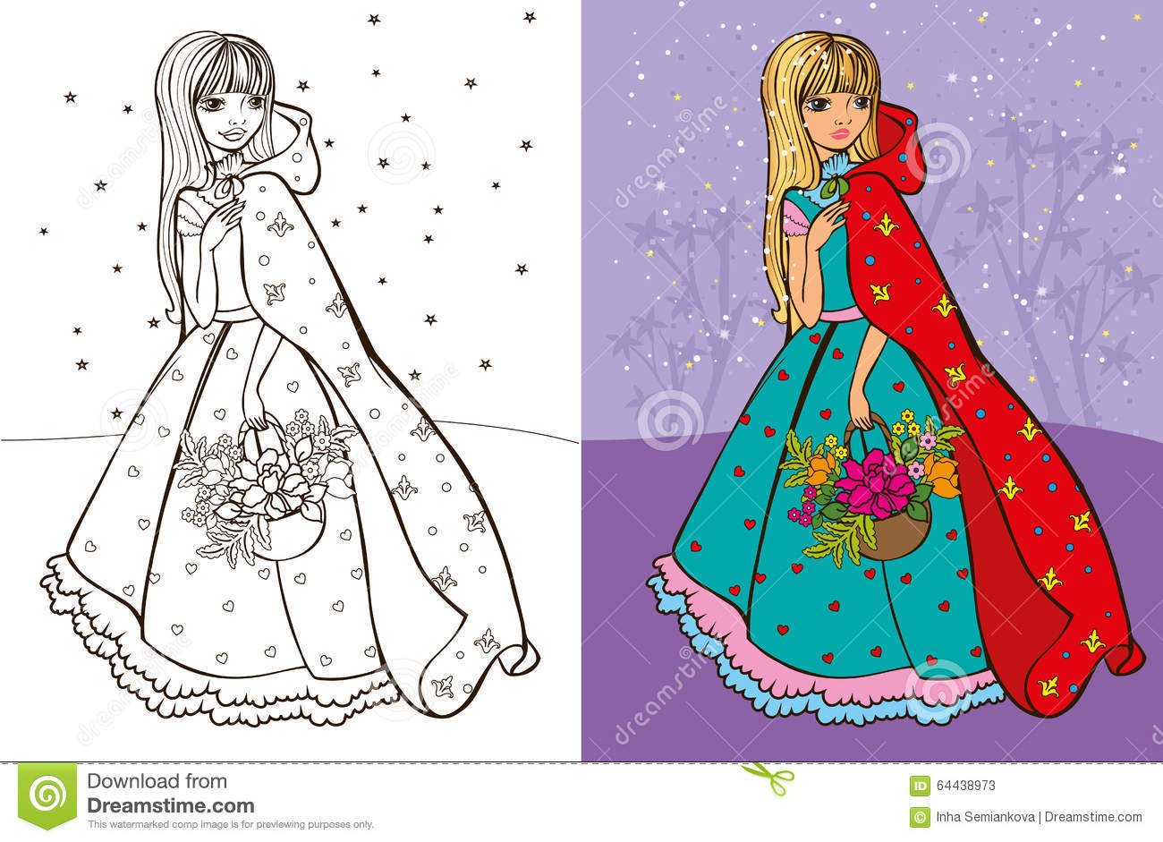 Colouring Book Of Girl In Red Coat Stock Vector - Image: 64438973