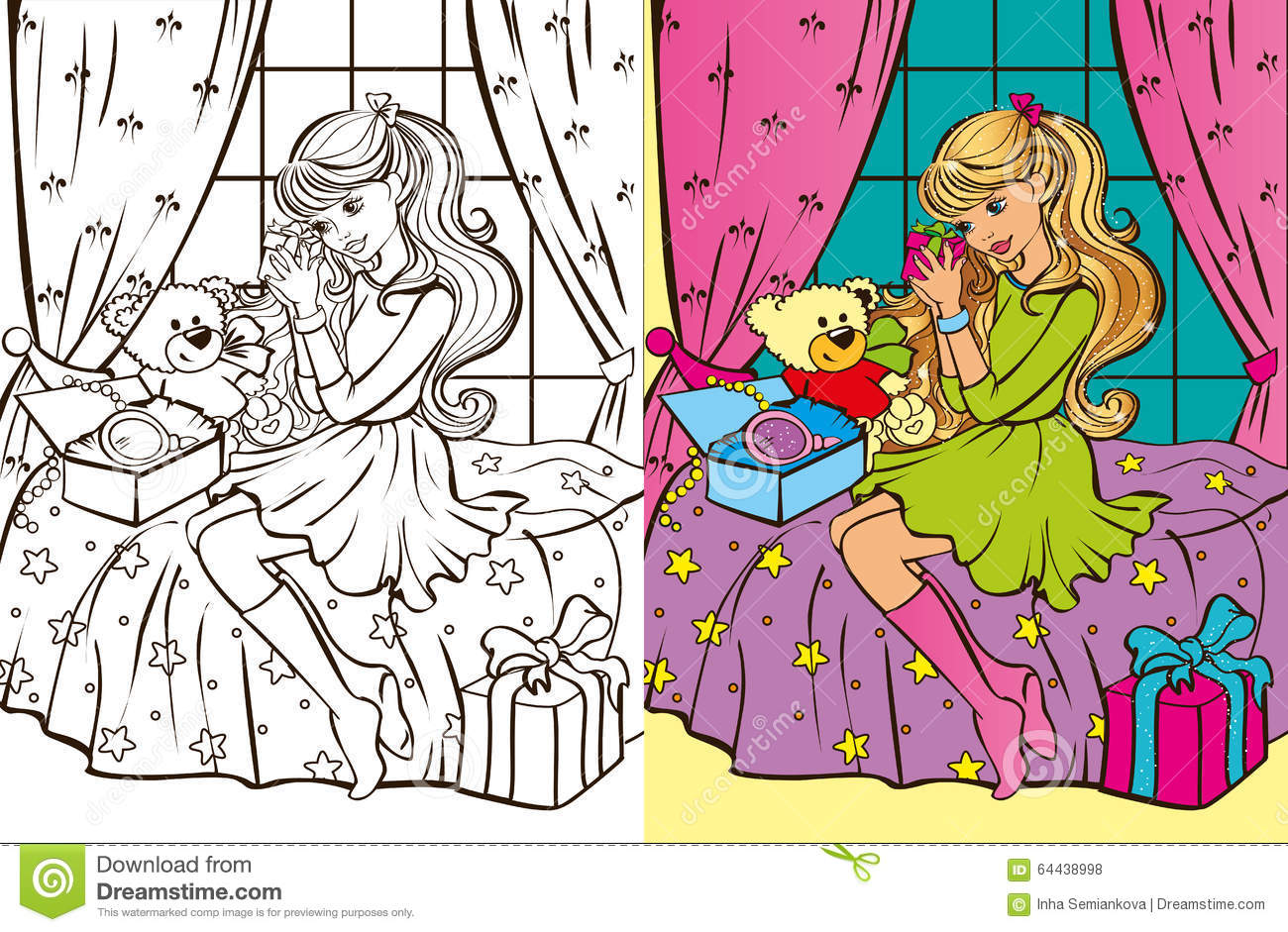 Colouring Book Of Girl Unpacks Gifts Stock Vector Illustration Of
