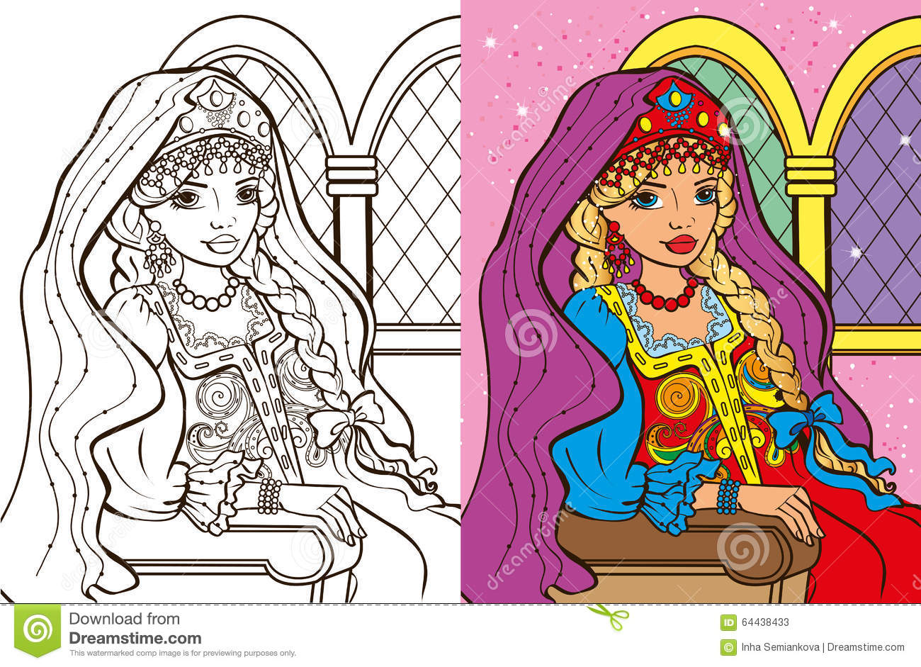 Colouring Book Of Russian Princess Stock Vector - Illustration of ...