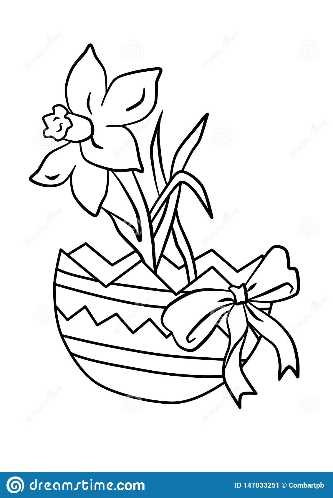 Colouring For Children Easter Coloring Page With Cartoon Easter Stock Vector Illustration Of Coloring Design 147033251