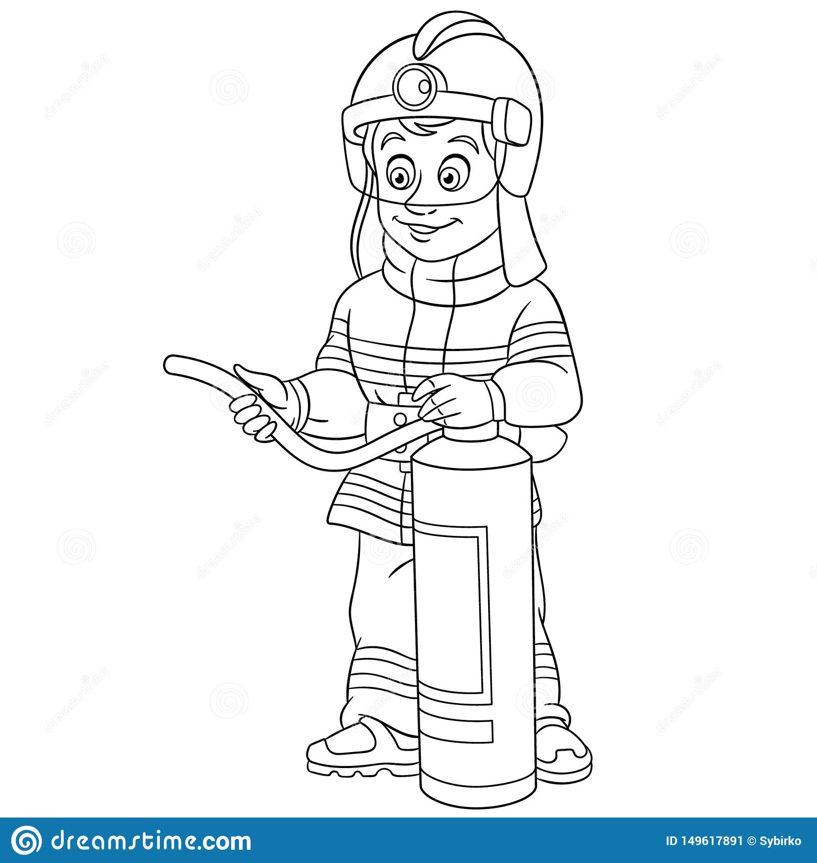 Coloring Page With Fire Man Fireman Firefighter Stock Vector ...