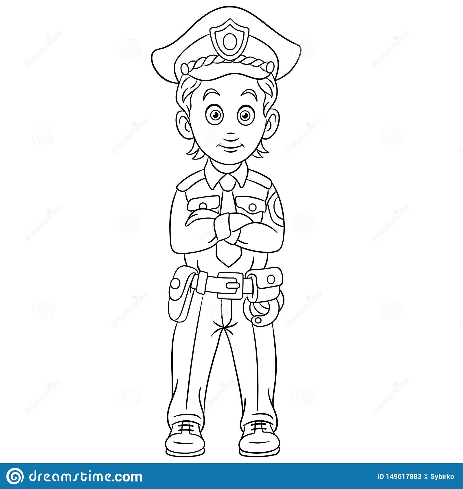 - Coloring Page With Policeman Police Man Officer Stock Vector
