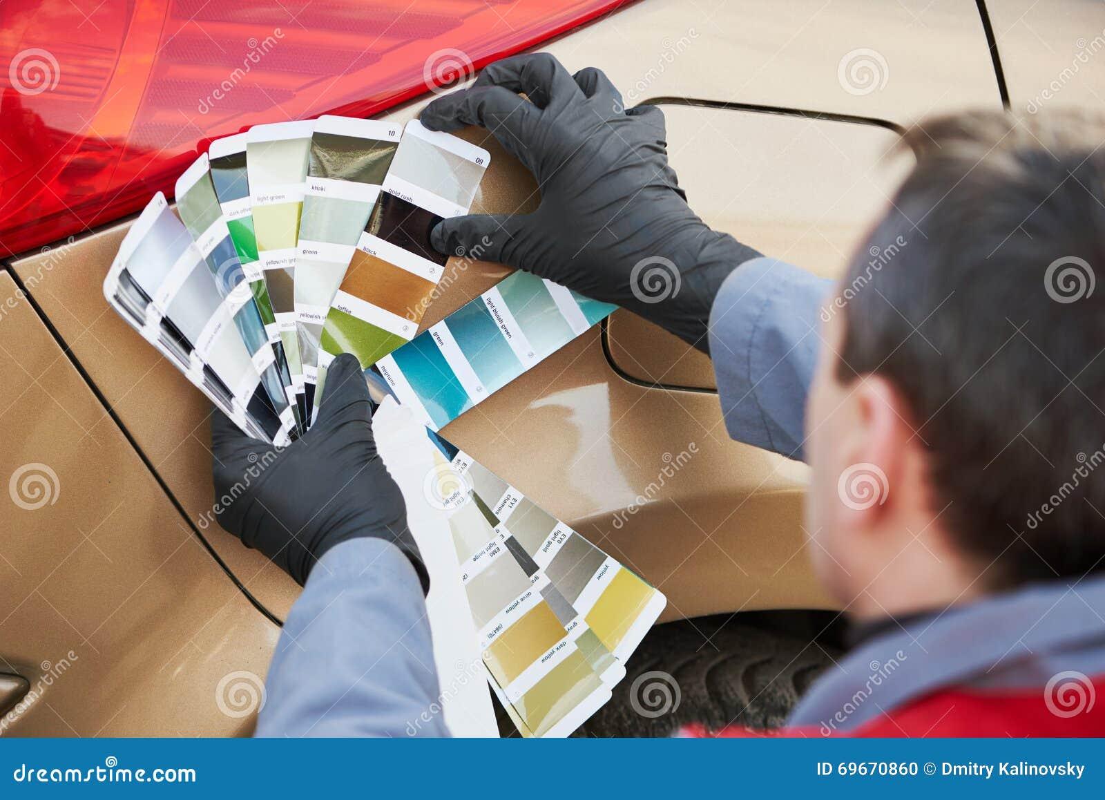 man choosing paint color cartoon vector 72671451. Black Bedroom Furniture Sets. Home Design Ideas
