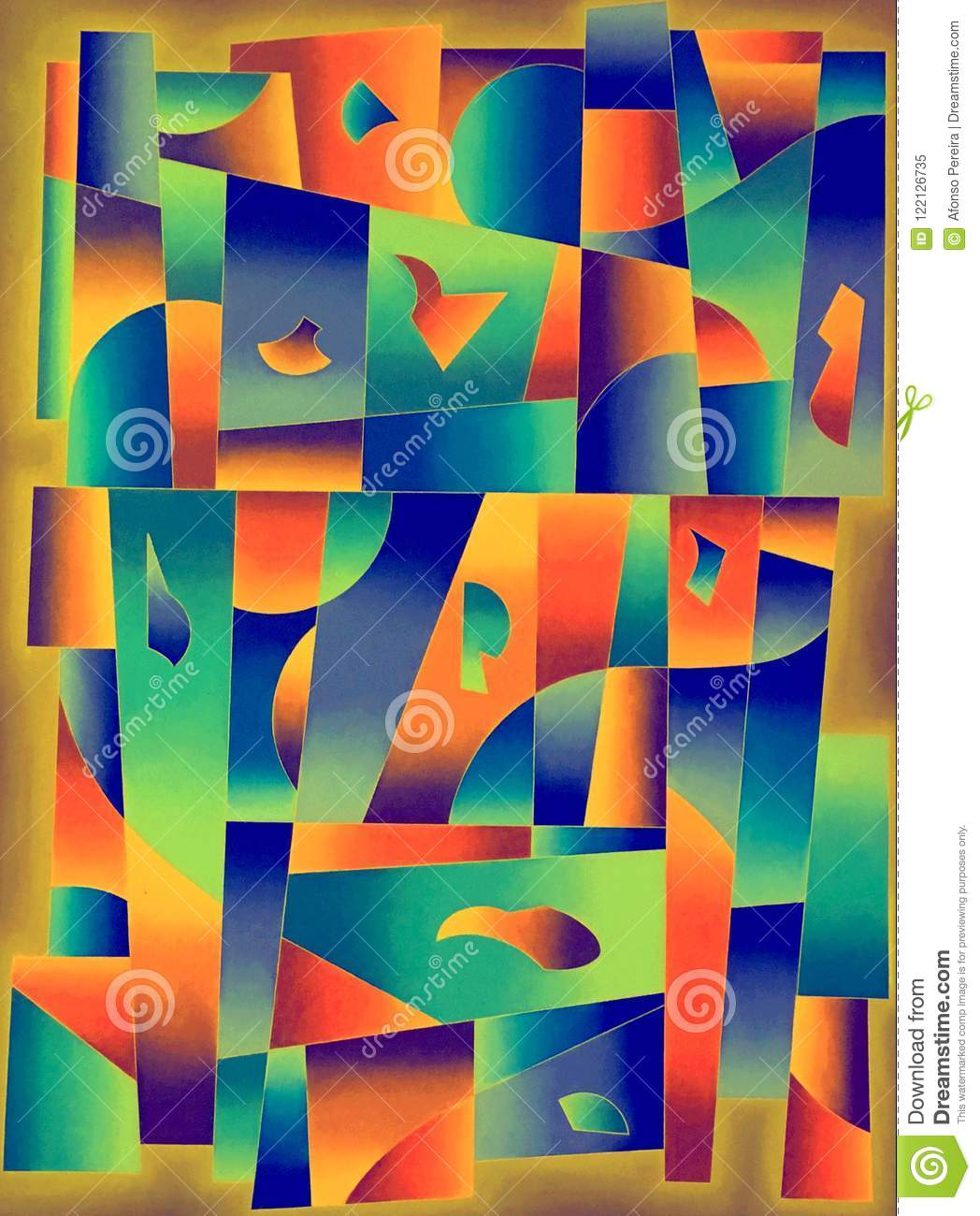 Colours Geometric Shapes Contemporary Art Stock Illustration