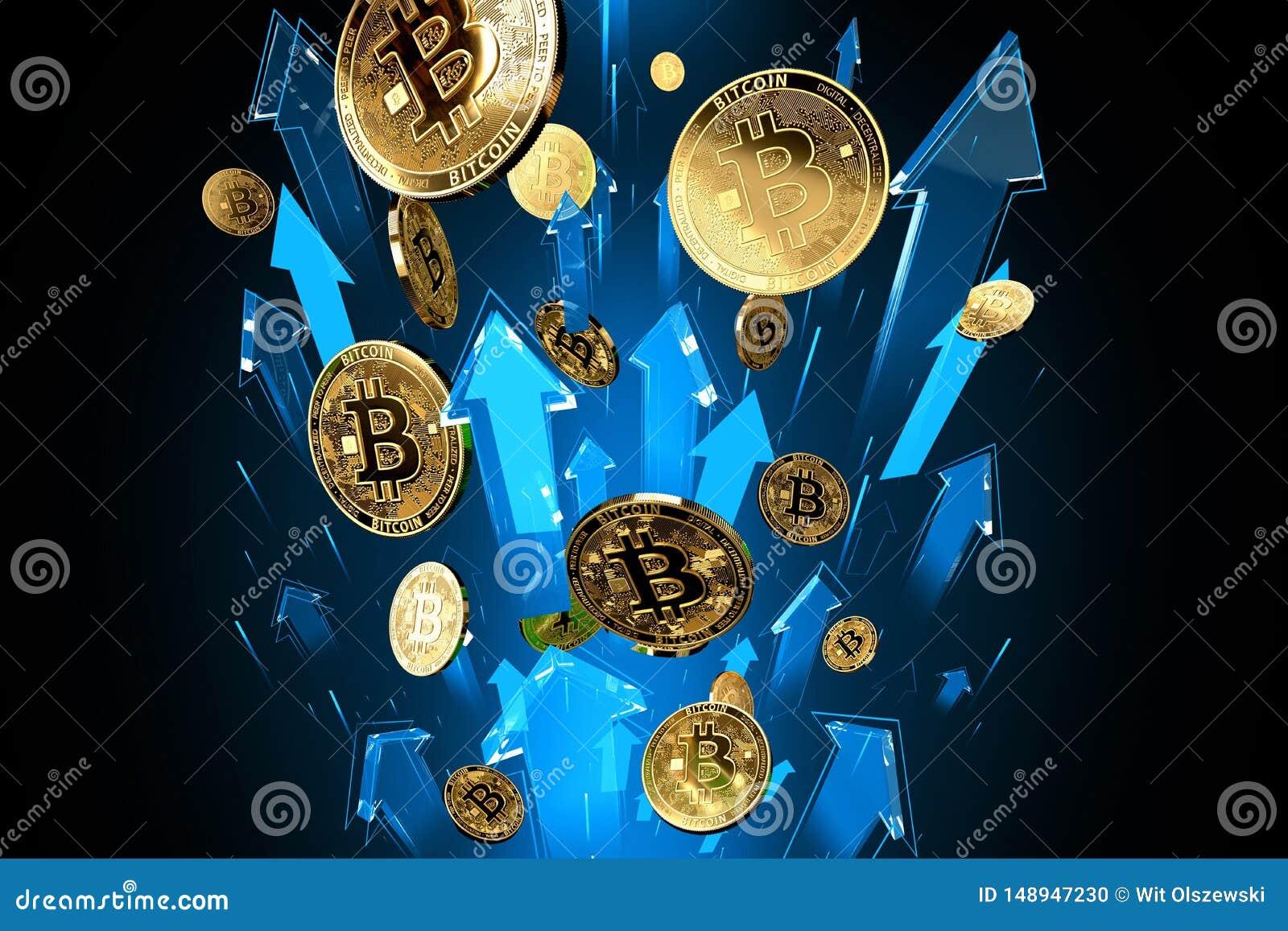Colpi blu delle frecce su con alta velocit? come aumenti di prezzi di Bitcoin BTC I prezzi di Cryptocurrency si sviluppano, ad al