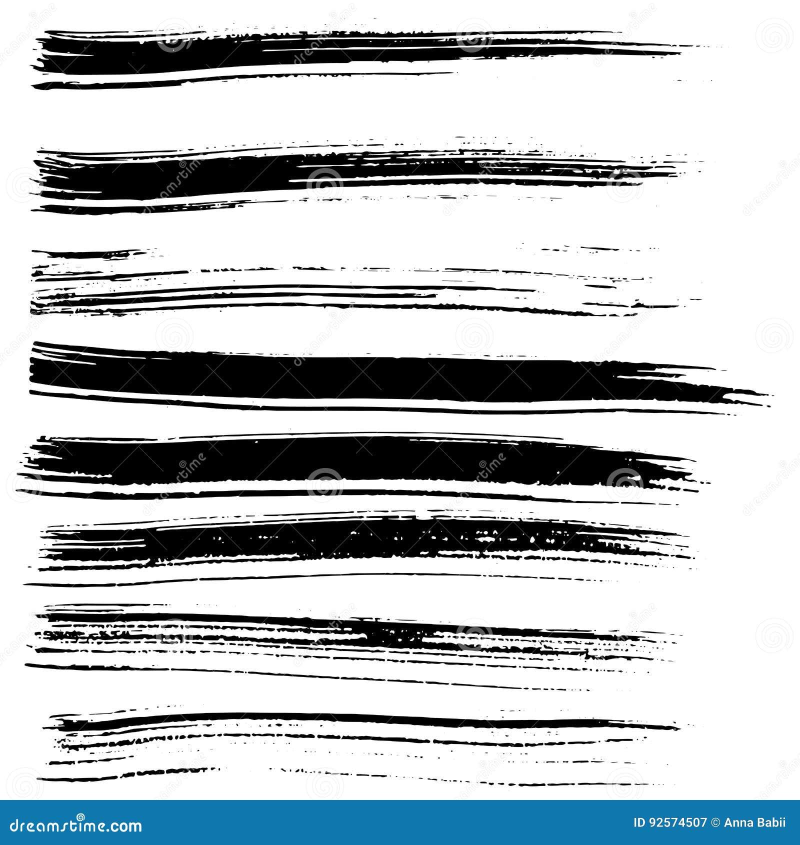 Colpi della spazzola di vettore dell inchiostro messi Illustrazione di vettore Struttura disegnata a mano dell acquerello di lerc