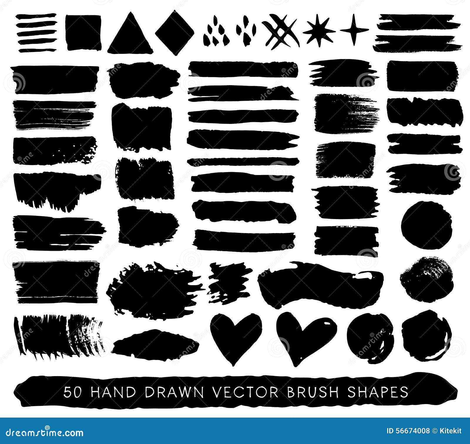 Colpi, gocce e forme disegnati a mano della spazzola di lerciume della pittura Vettore