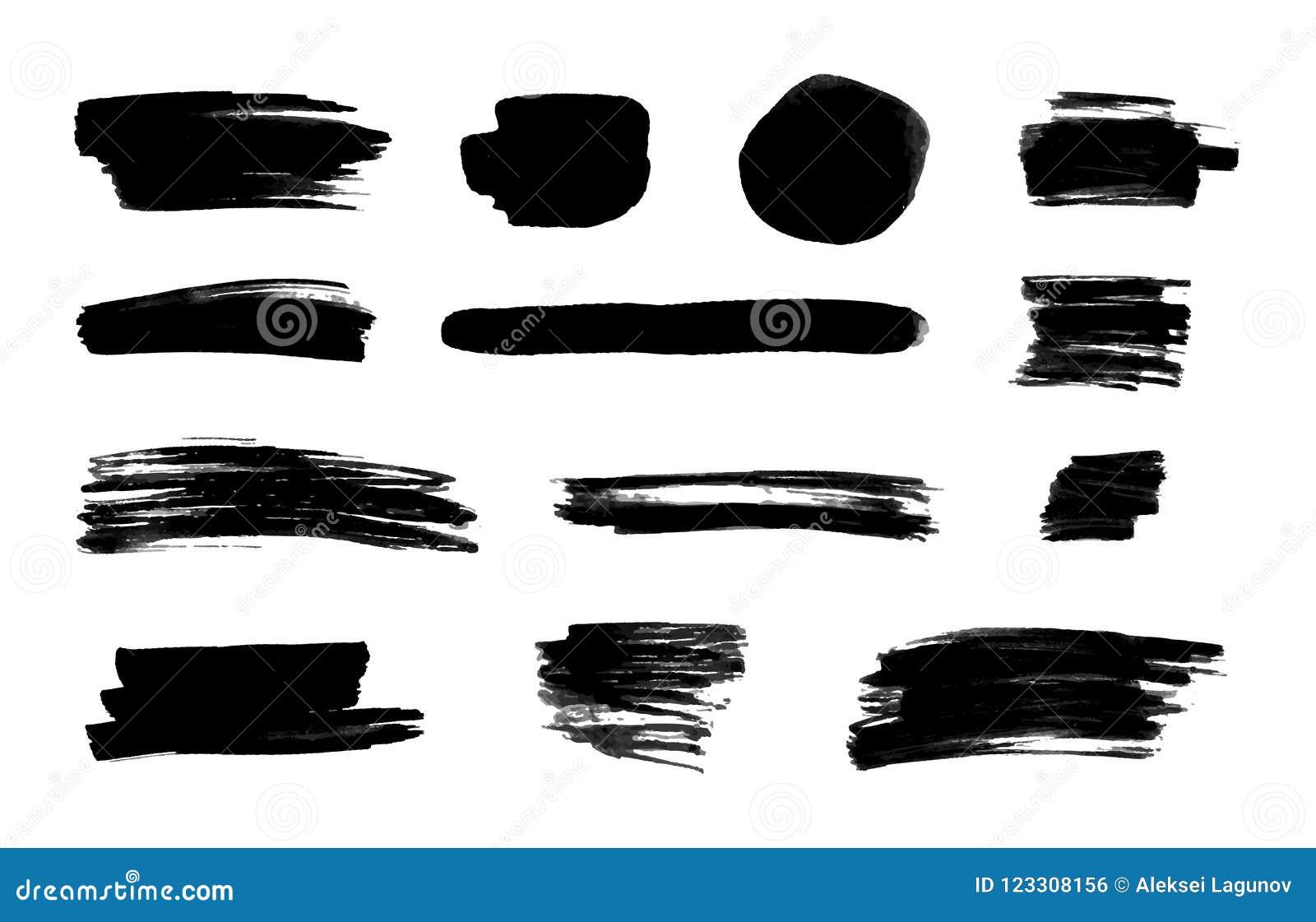 Colpi neri dell inchiostro di vettore, insieme isolato del fondo, elementi di progettazione