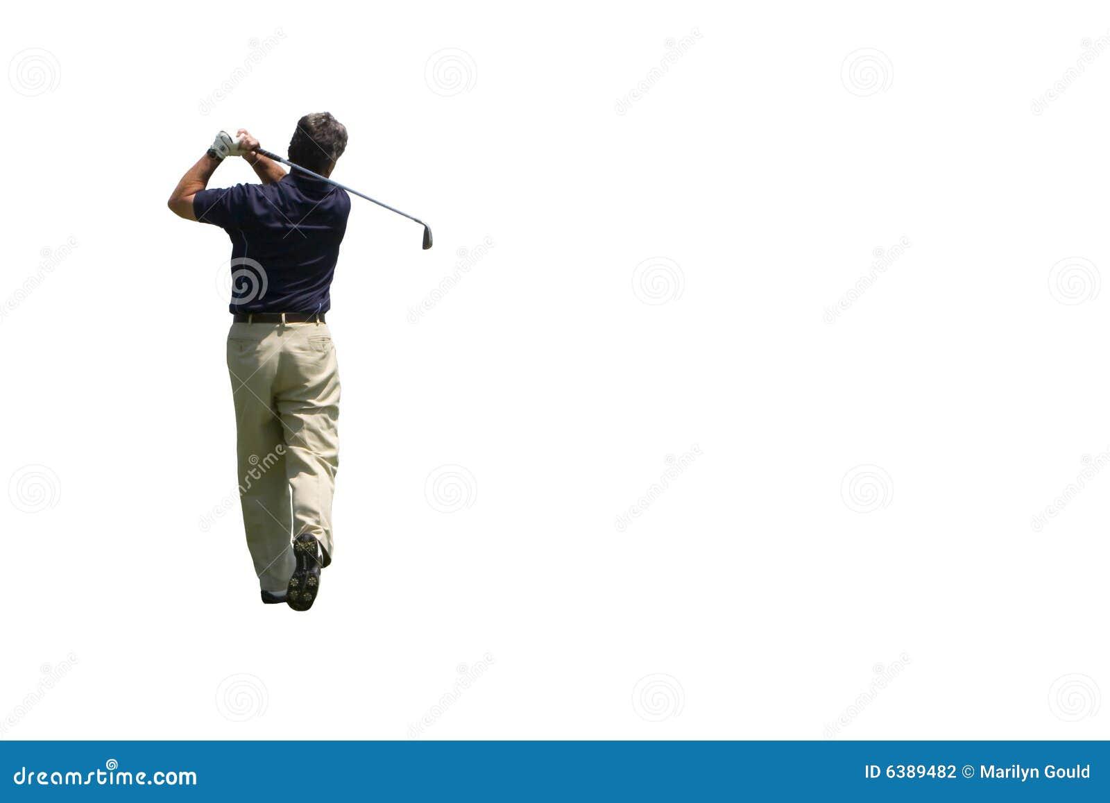 Colpo del ferro del giocatore di golf isolato