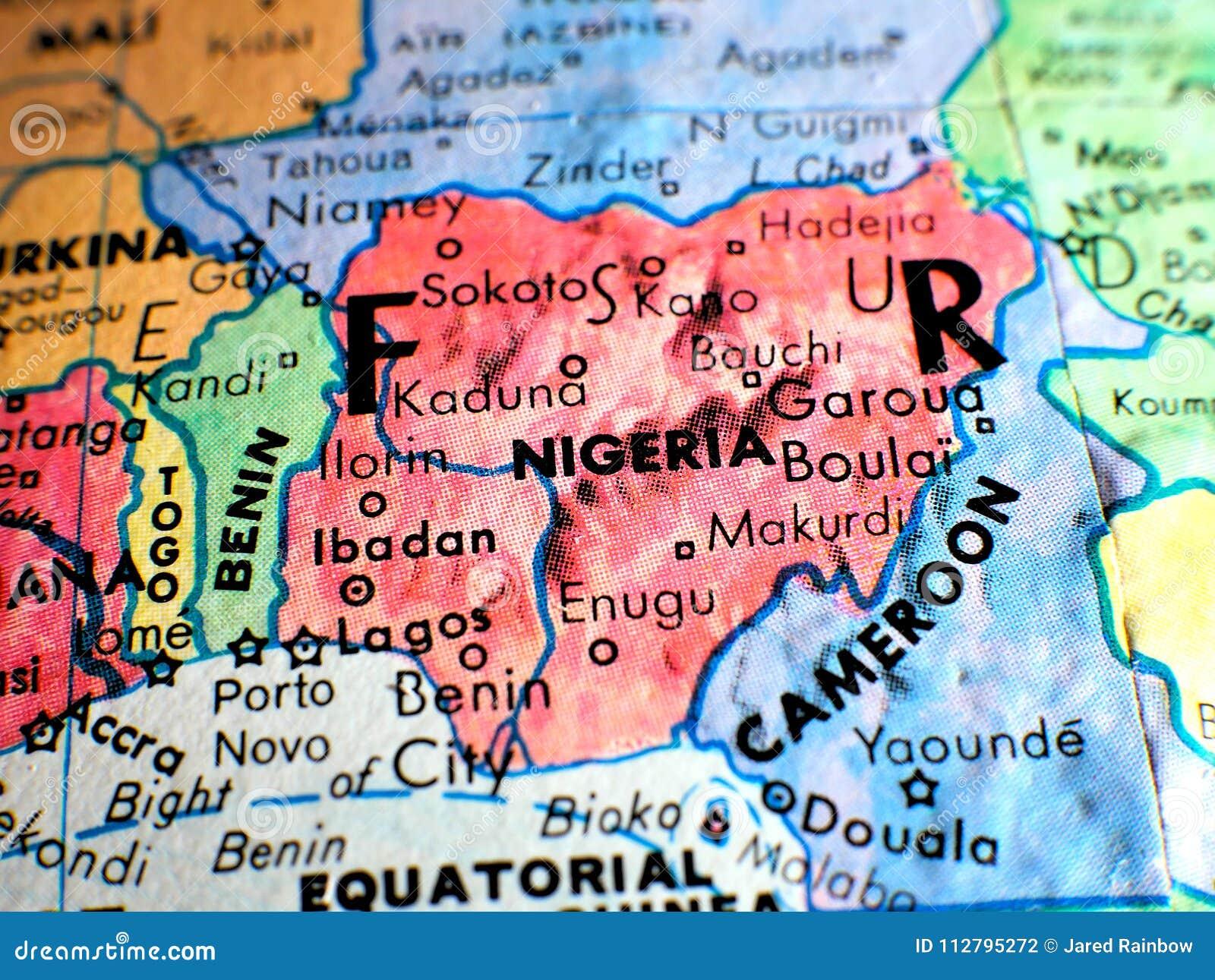 Nigeria Cartina Africa.Colpo Del Fuoco Della Nigeria Africa Macro Sulla Mappa Del