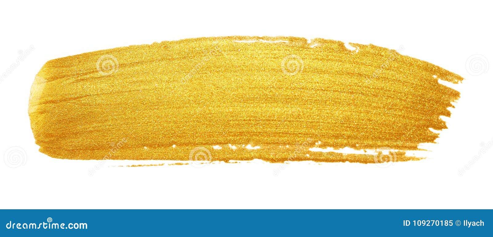 Colpo del pennello di Golded Macchia della sbavatura di colore dell oro di scintillio sul whi