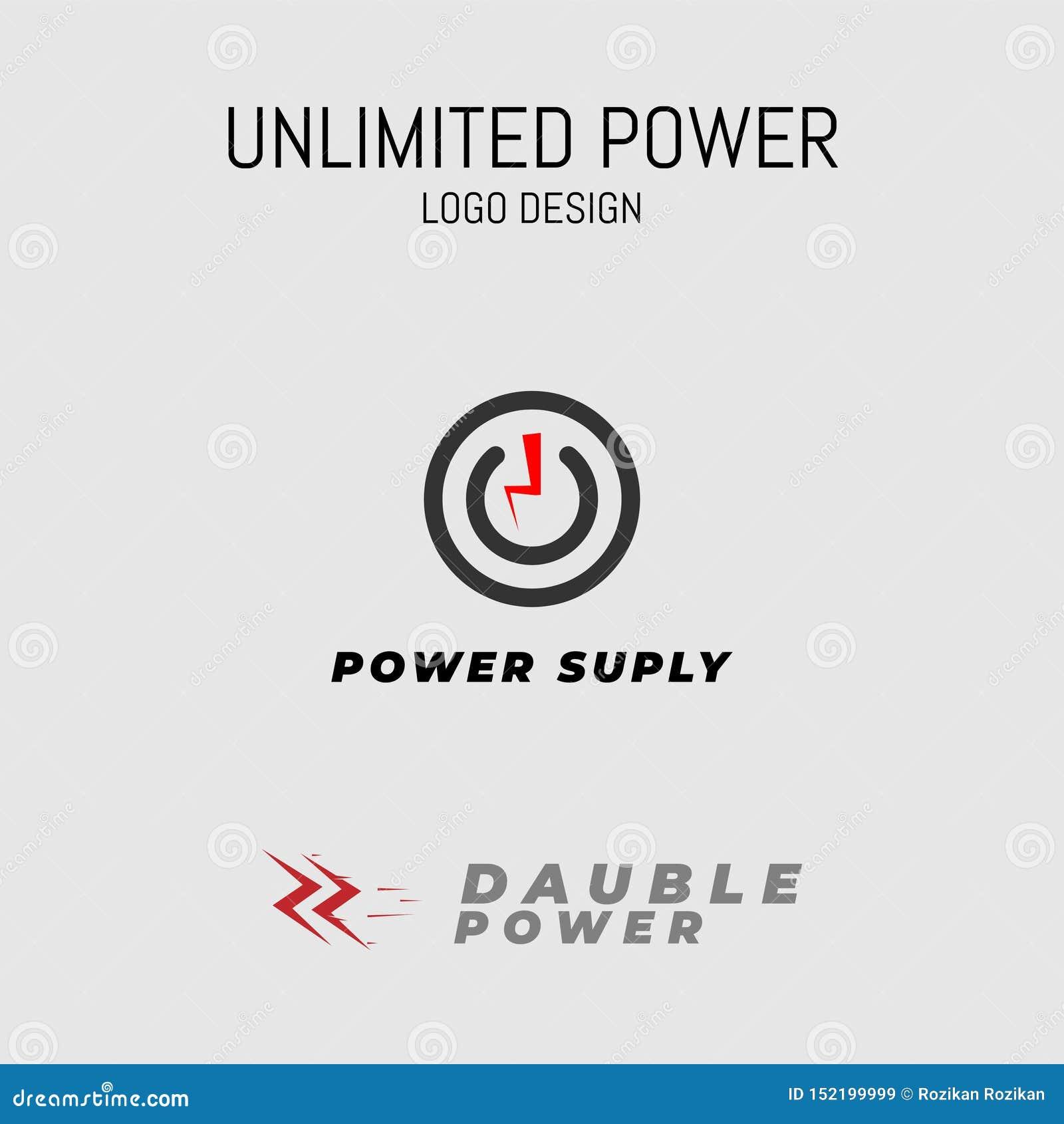 Colpo di fulmine illimitato di progettazione di logo di potere semplice