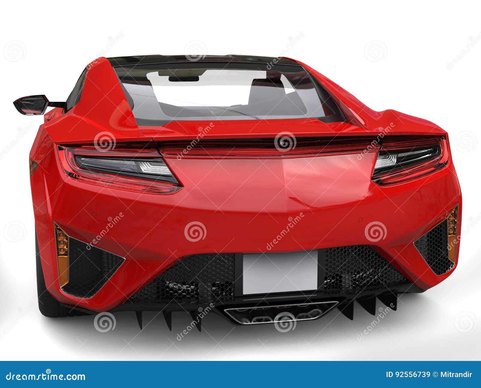 Colpo estremo del primo piano di sport di vista posteriore automobilistica futuristica cremisi di concetto