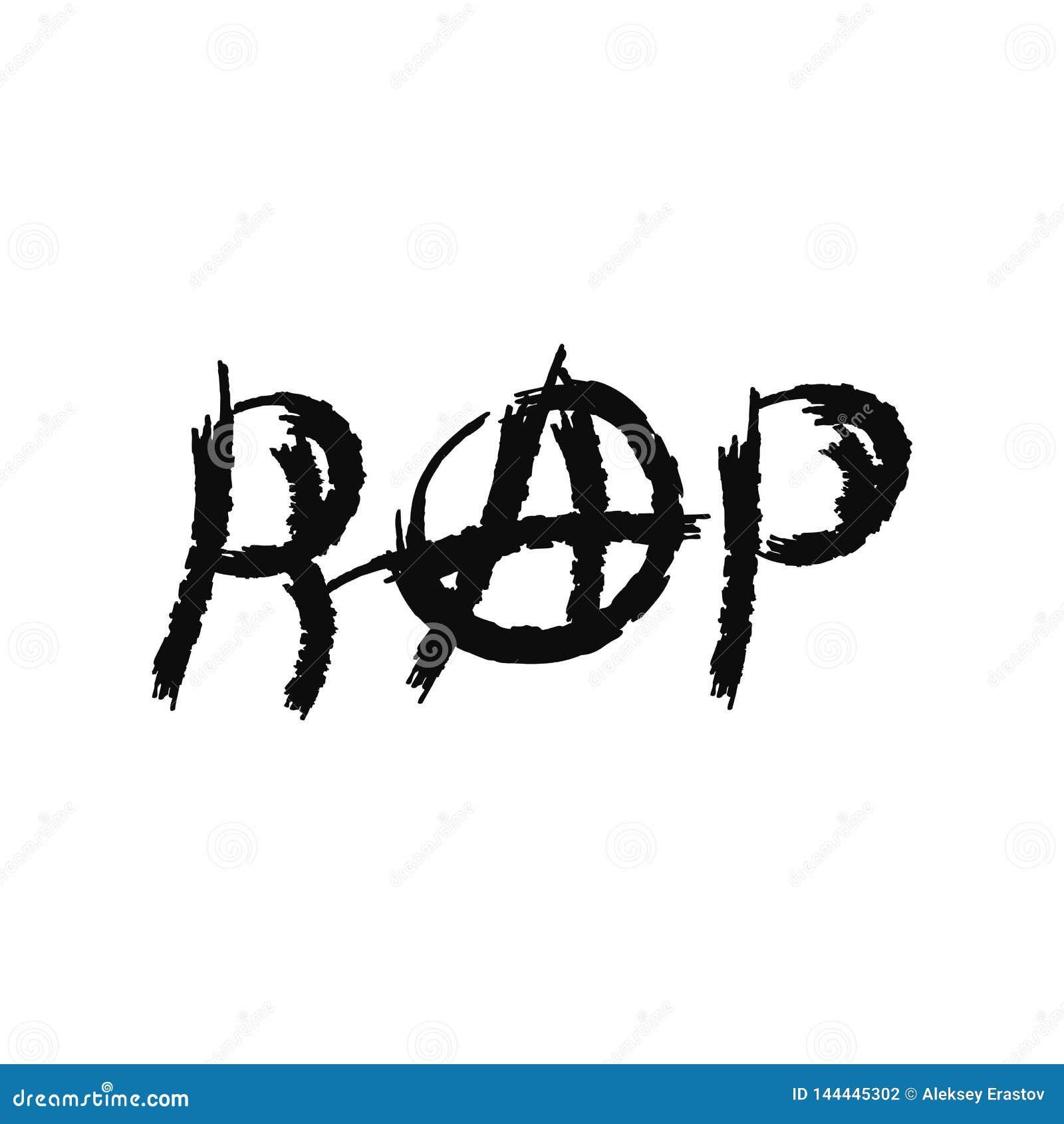 Colpo secco dell iscrizione con il segno dell anarchia Stile di lerciume Illustrazione di vettore disegnata dalla spazzola acquer