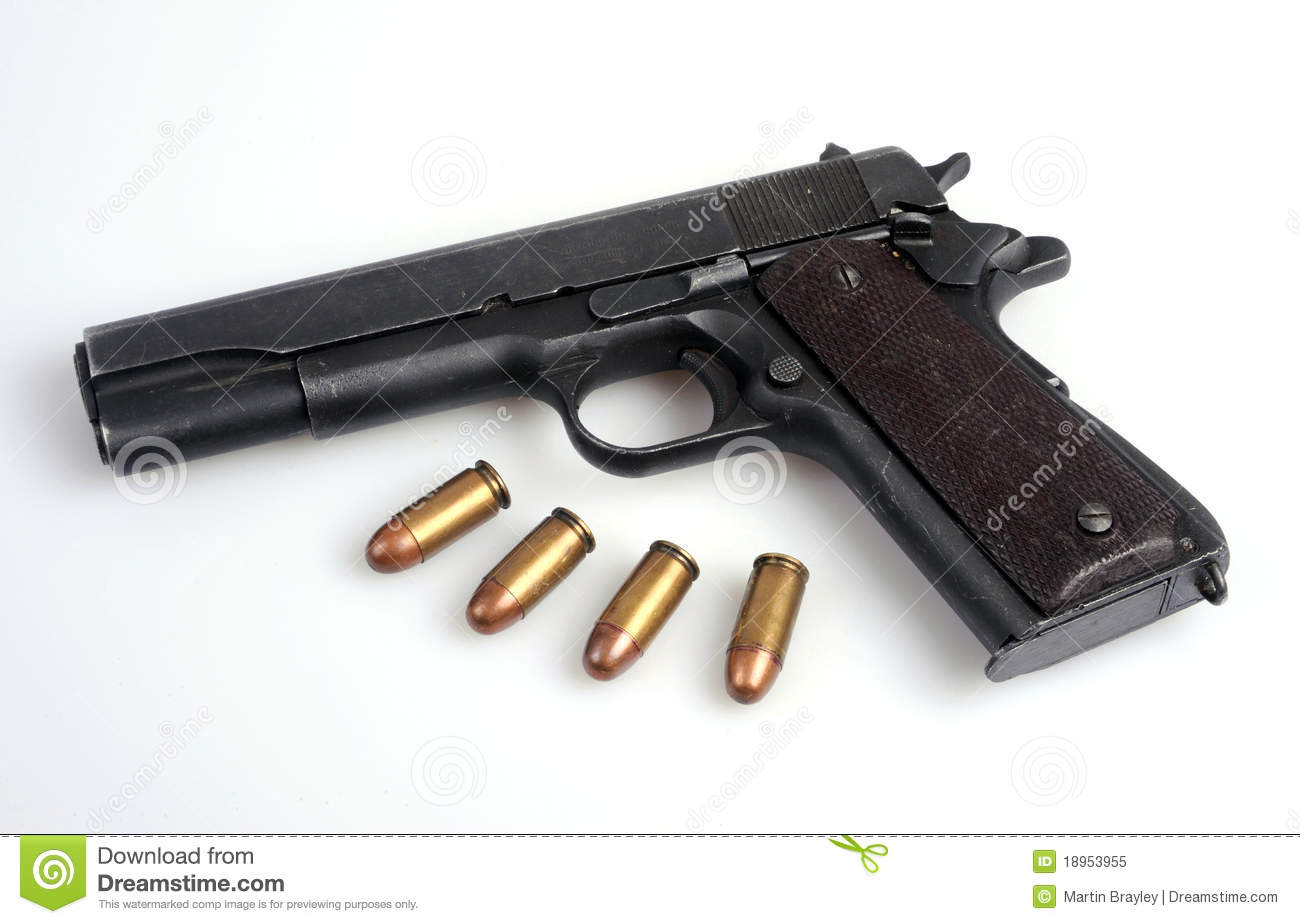 Colt 45 Service Automatic Pistol And Ammo Royalty Free Stock Photo Image 18953955