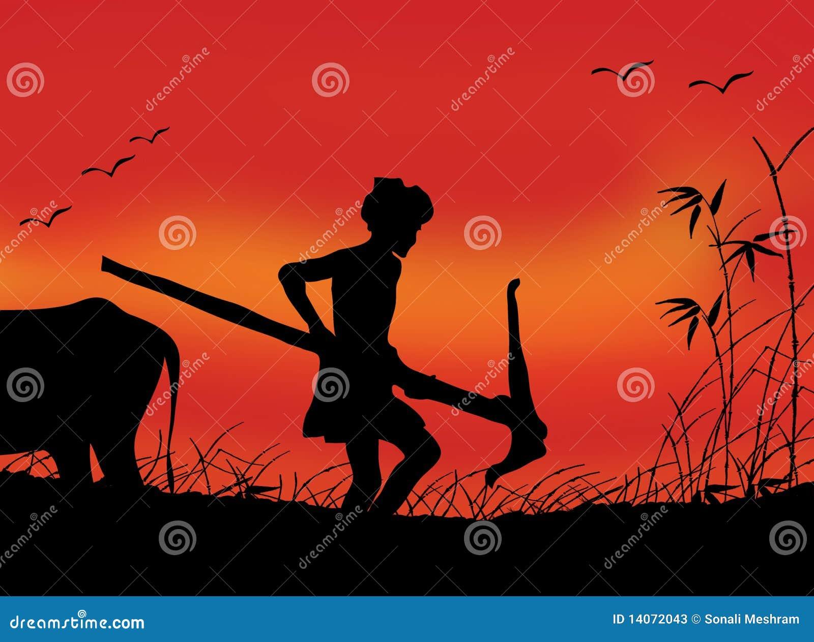 Coltivatore indiano sul lavoro