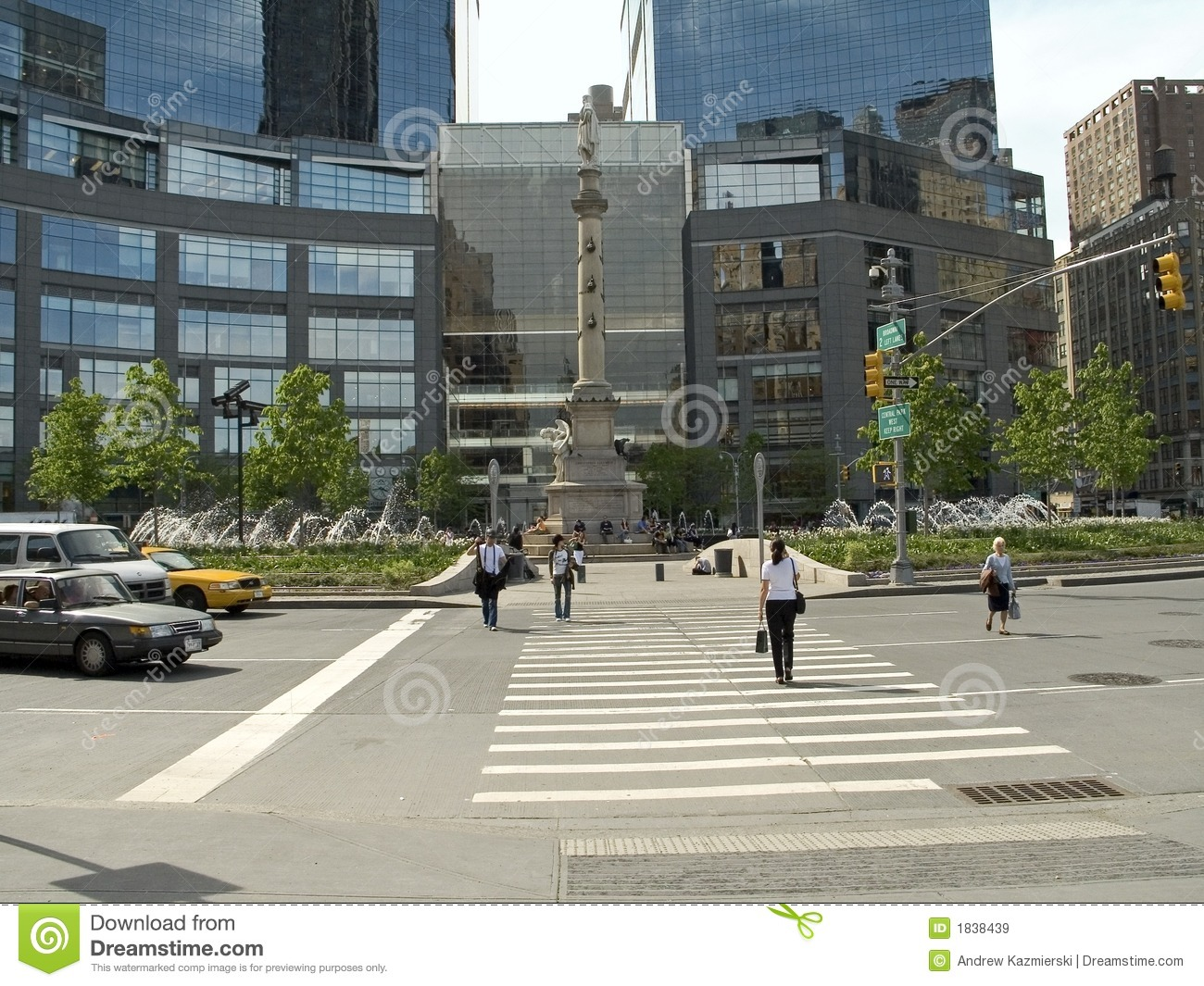 Columbus Circle Spring Royalty Free Stock Images Image