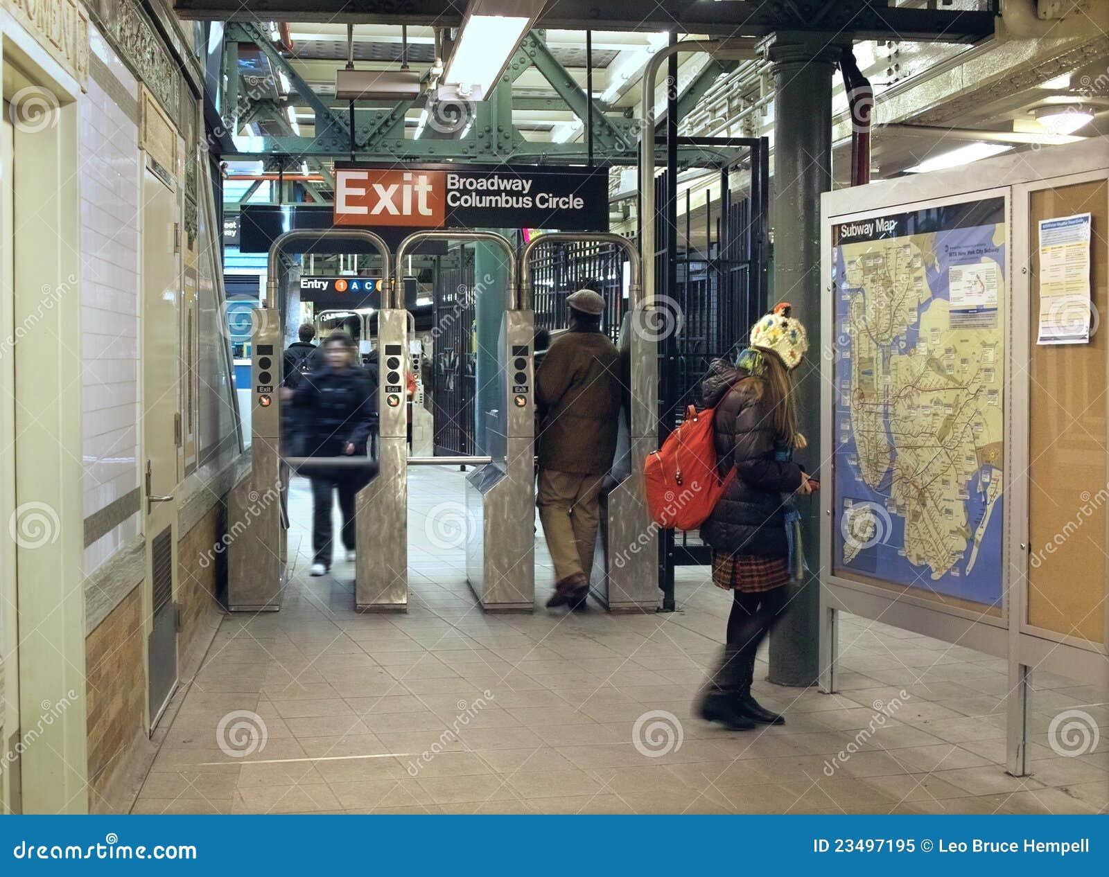 Columbus Circle Subway Map.Columbus Circle Subway Station New York City Editorial Image