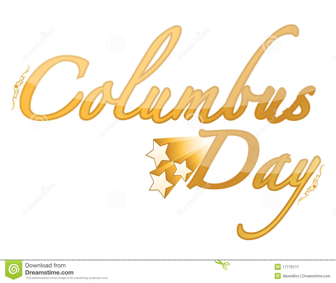 Golden Columbus Day sign isolated over white.
