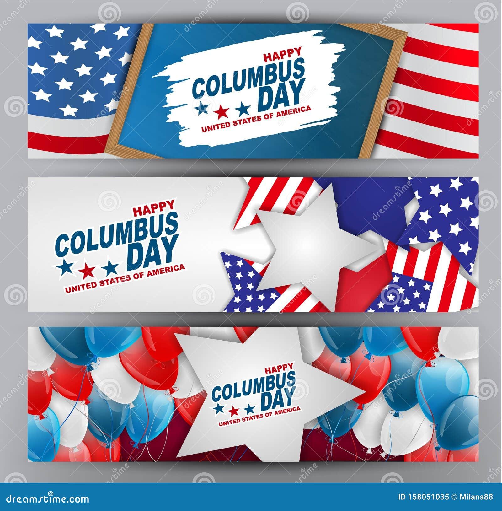 Columbus Day Banner Or Header Set. USA Holiday Design ...