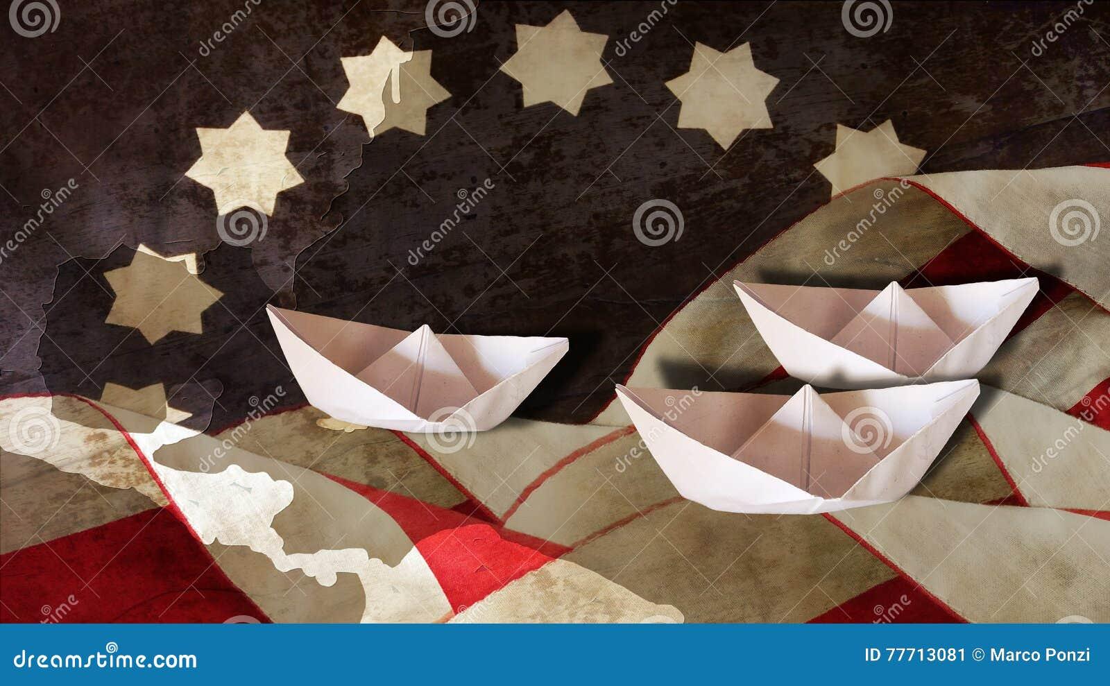 Columbus Day Flagge bewegt Diagramm und Boote wellenartig