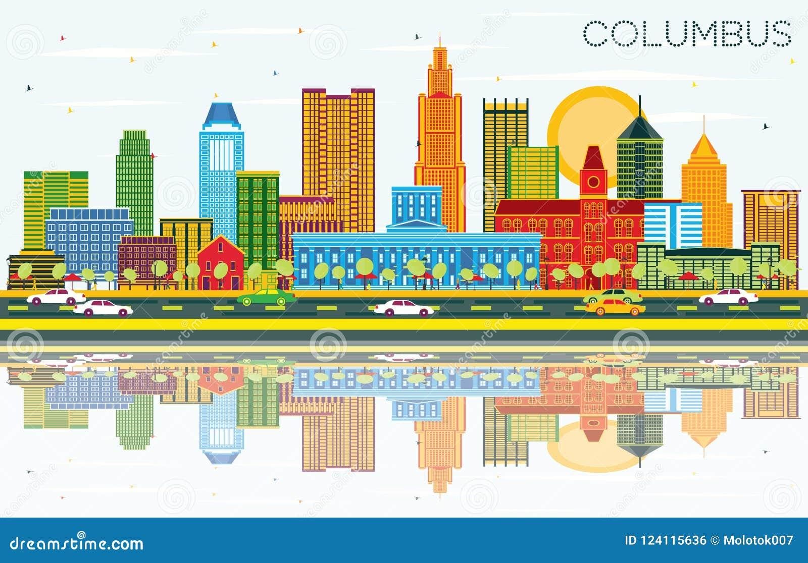 Columbus Ohio City Skyline avec les bâtiments de couleur, le ciel bleu et le Re