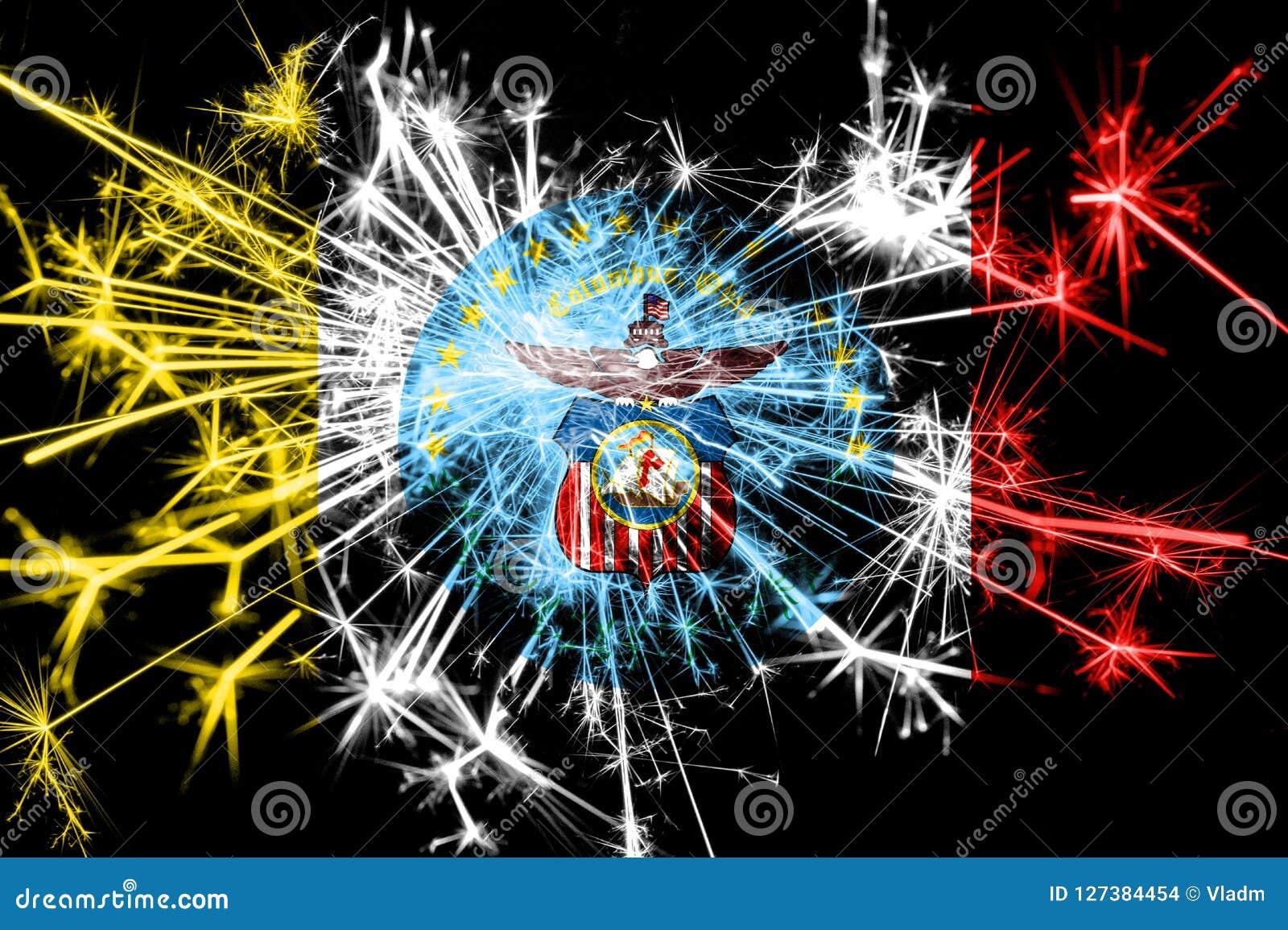 Christmas In Columbus Ohio 2019 Columbus, Ohio Fireworks Sparkling Flag. New Year 2019 And