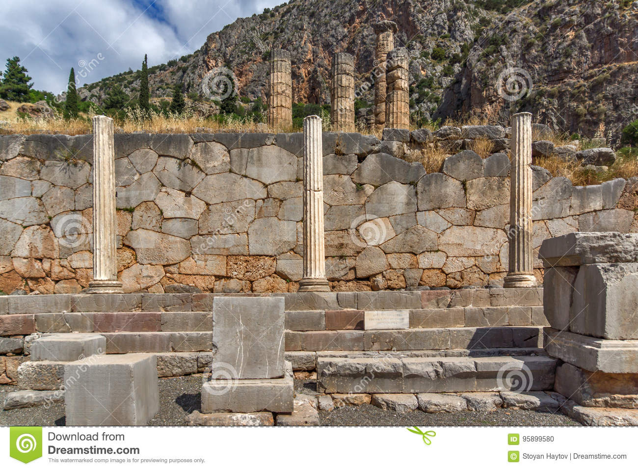 Column In Ancient Greek Archaeological Site Of Delphi Greece Stock