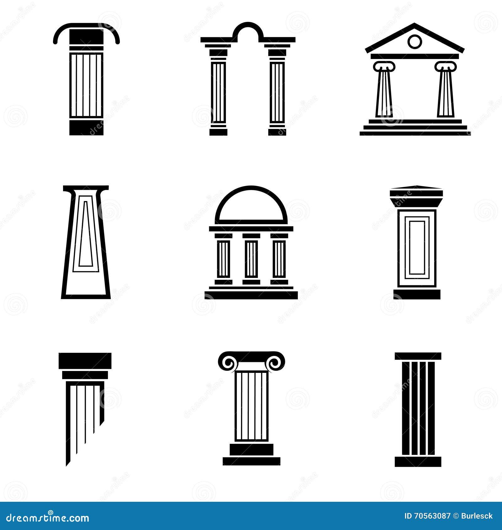 Column Black Vector Icons Stock Vector Image 70563087