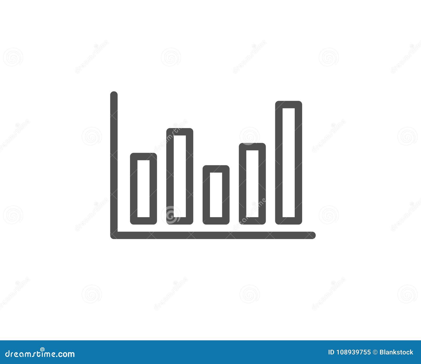 Column Chart Line Icon Financial Graph Stock Vector Illustration