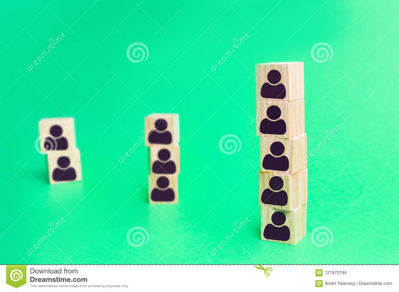 Column of cubes of company employees. recruitment. Labour Organization. structure and hierarchy of business. Dismissal and hiring