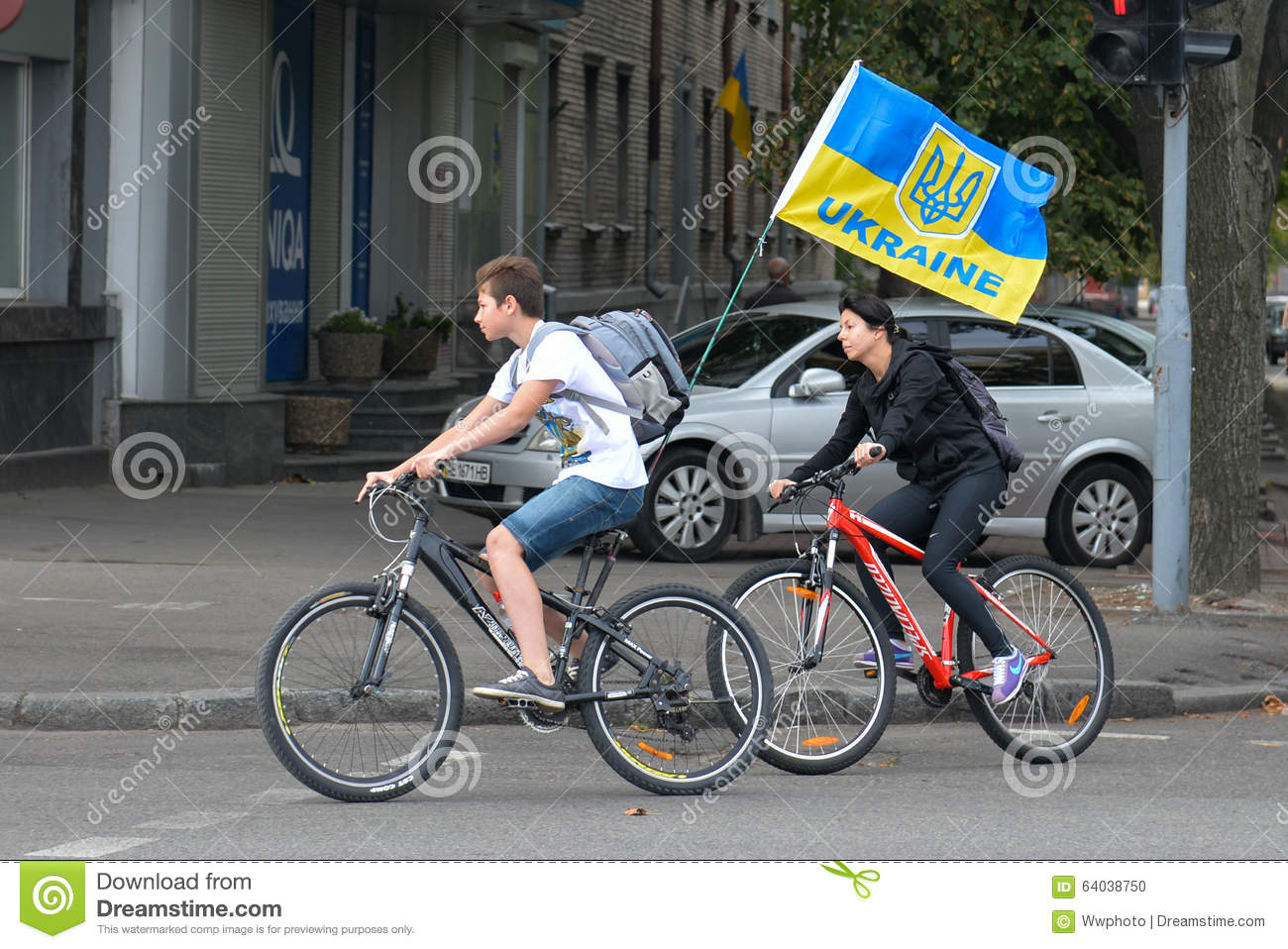 Column Of Cyclists With Ukrainian Flags Editorial Image