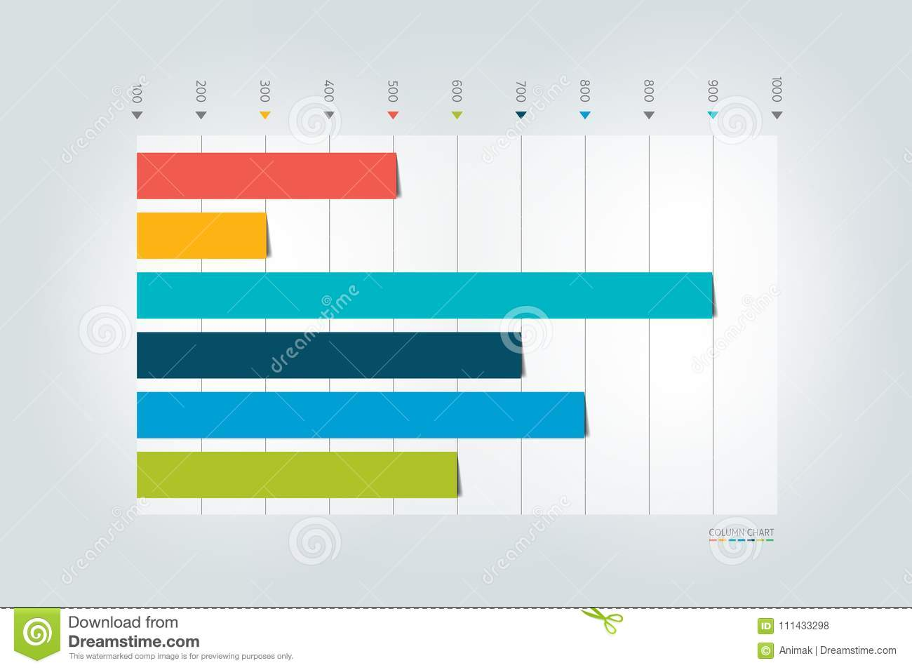 column graph chart template for infographics stock vector