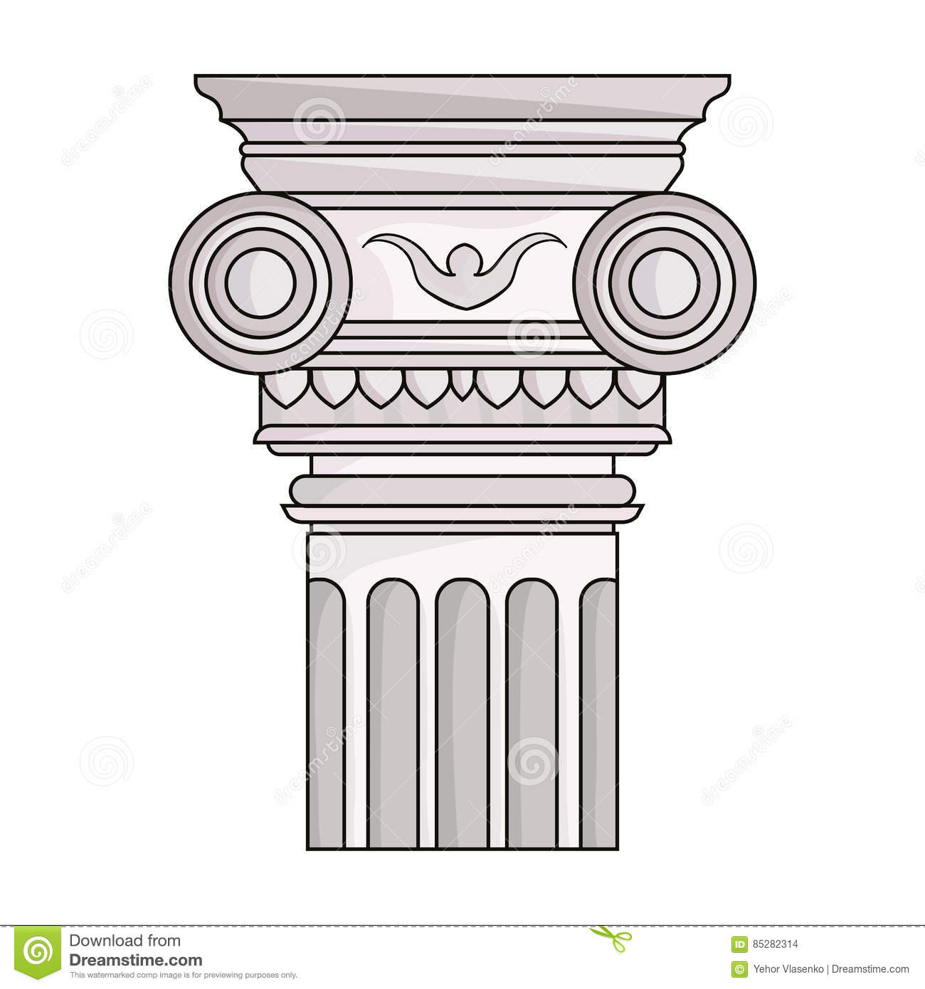 Column Icon In Cartoon Style Isolated On White Background Architect Symbol Stock Vector Illustration