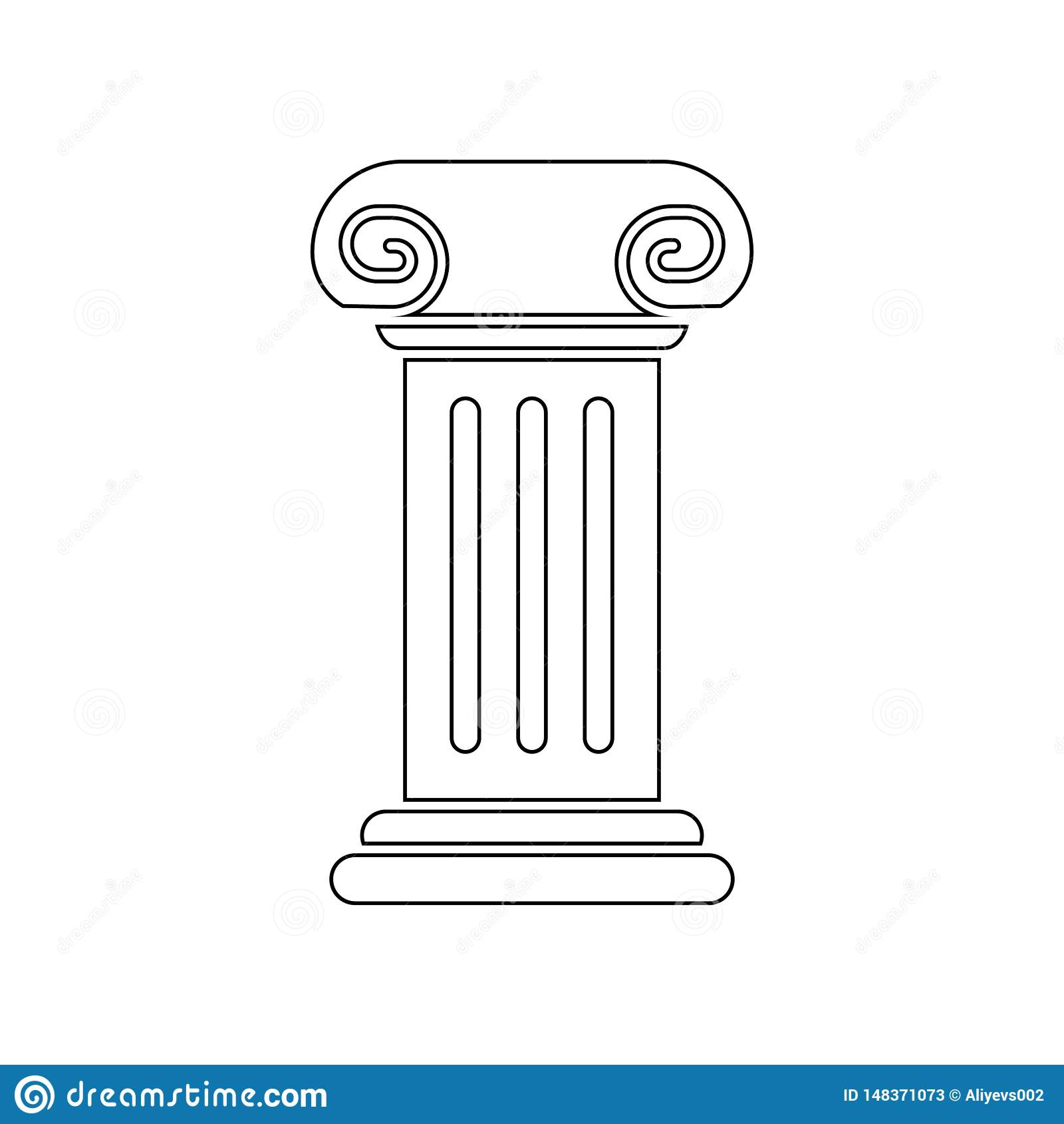 column for a statue icon. Element of Theatre for mobile concept and web apps icon. Outline, thin line icon for website design and