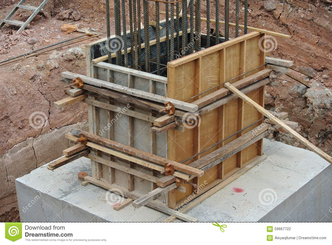 Column Stump Formwork Made From Timber And Plywood Stock Photo - Image ...