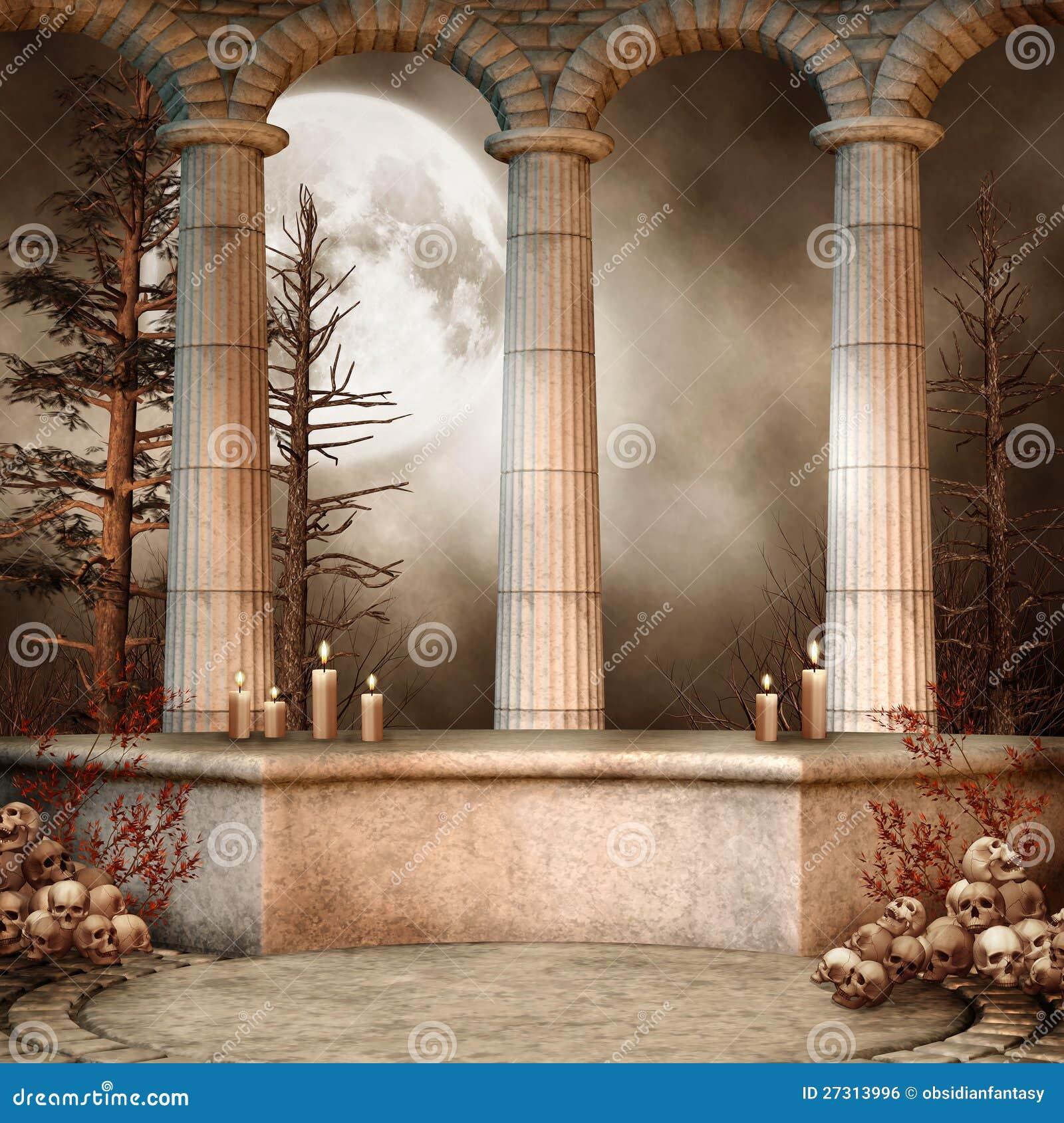 Columnas de m rmol con los cr neos imagen de archivo libre - Columna de marmol ...
