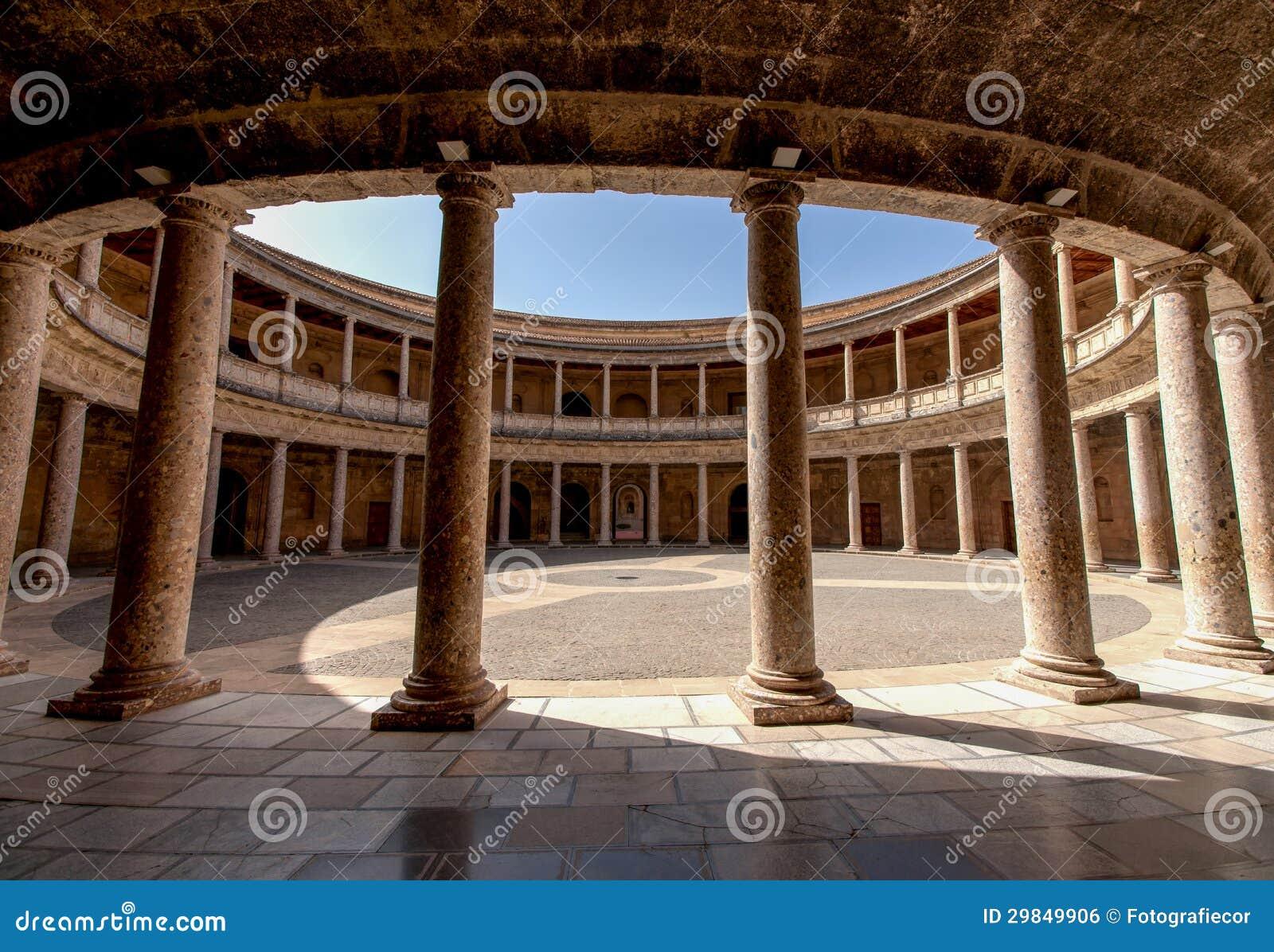 Alhambra De Granada. Court Of The Carlos V Palace Royalty Free Stock Image - ...
