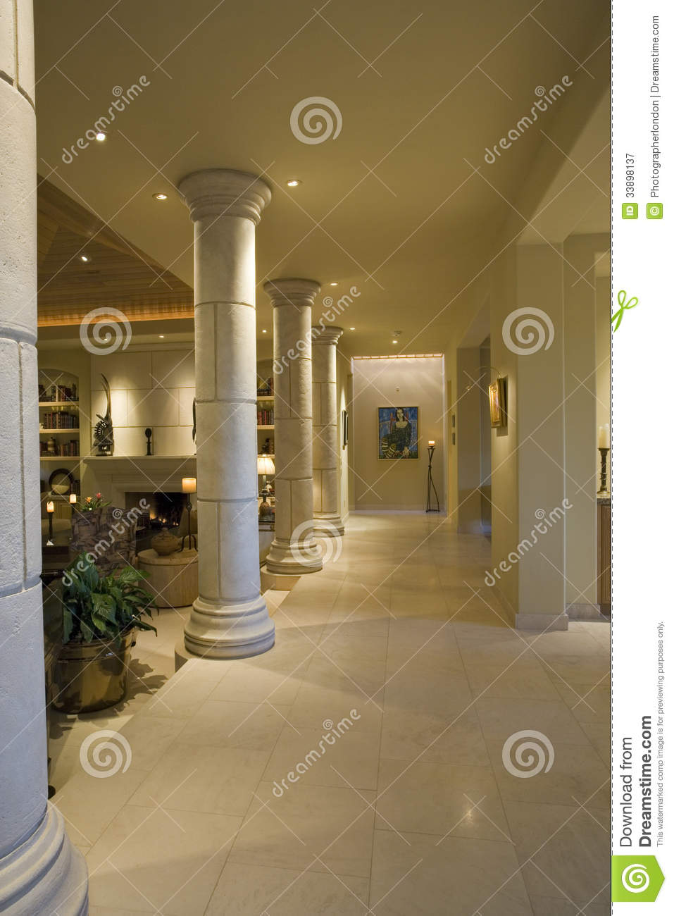 Columns Along House Hallway Royalty Free Stock Photography