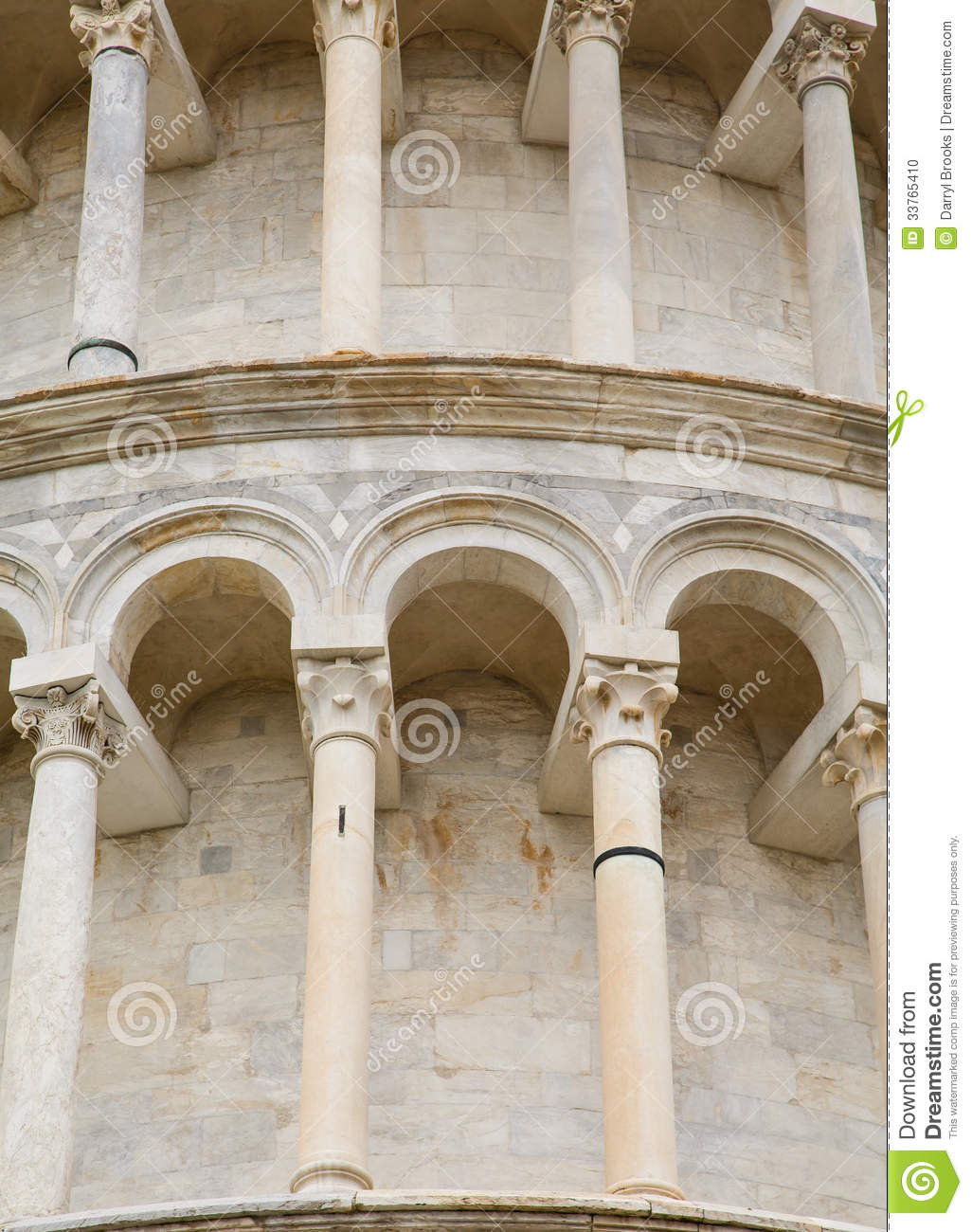 Columns And Arches On Tower In Pisa Stock Photo Image