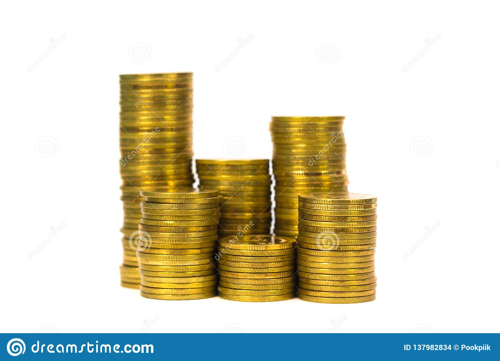 Columns Of Coins Piles Of Coins On White Background